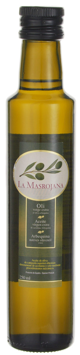 La Masrojana Extra Virgin масло оливковое, 0,25 л8420642000107Компания La Masrojana выпускает оливковое масло из одного сорта оливок - Арбекина. Из-за своего небольшого размера эти оливки собирают вручную, они содержат большое количество масла. Оливковое масло из сорта Арбекина - это легкая и нежная текстура . Вкус сладкий и фруктовый, с оттенками яблока и миндаля. Аромат - очень свежий и фруктовый, в первых тонах чувствуется томат, миндаль, укроп, зеленая трава.Кислотность - 0,2%, что по нормативам Испании считается лечебным оливковым маслом. Идеальное масло на любой случай! Особенно рекомендуется для овощей (свежих или вареных) и рыбы (на пару или на гриле), а также выпечки.Масла для здорового питания: мнение диетолога. Статья OZON Гид