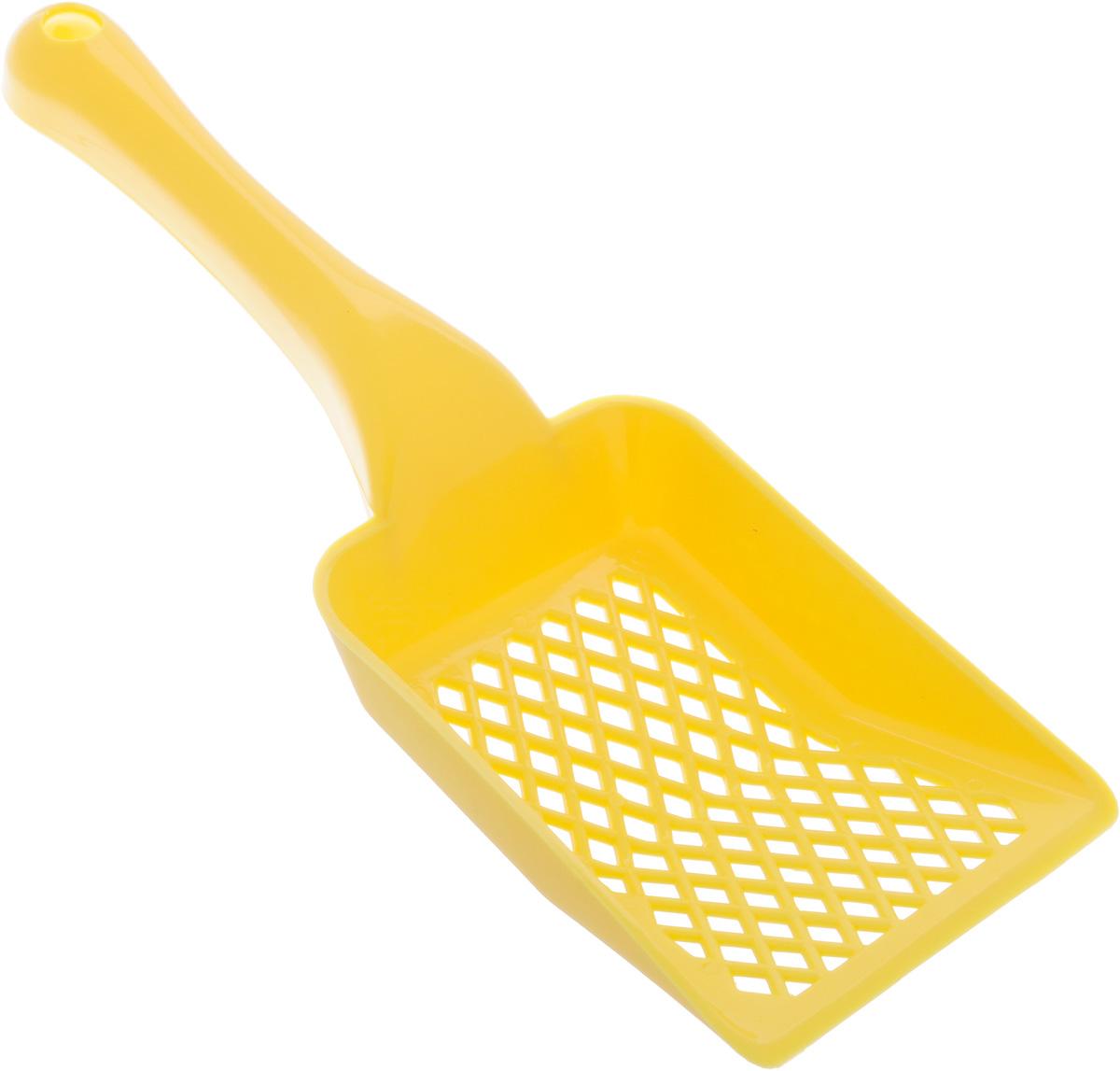 Совок для кошачьего туалета Каскад, цвет: желтый, длина 27 см46304050_желтыйСовок для кошачьего туалета Каскад изготовлен из цветного пластика. Рабочая поверхность совка со специальными отверстиями позволяет эффективно просеивать наполнитель и удалять образовавшиеся комки. На ручке совка есть отверстие для подвешивания на стену. С помощью этого совка вы сможете быстро и качественно убрать кошачий туалет.Длина совка: 27 см.Размер рабочей поверхности: 9 х 13 х 2,5 см.