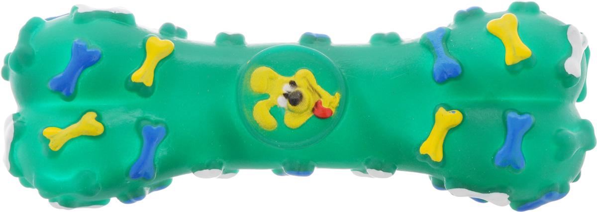 Игрушка для животных Каскад Косточка, с пищалкой, цвет: зеленый, длина 16 см игрушка для животных каскад мячик пробковый цвет зеленый 3 5 см