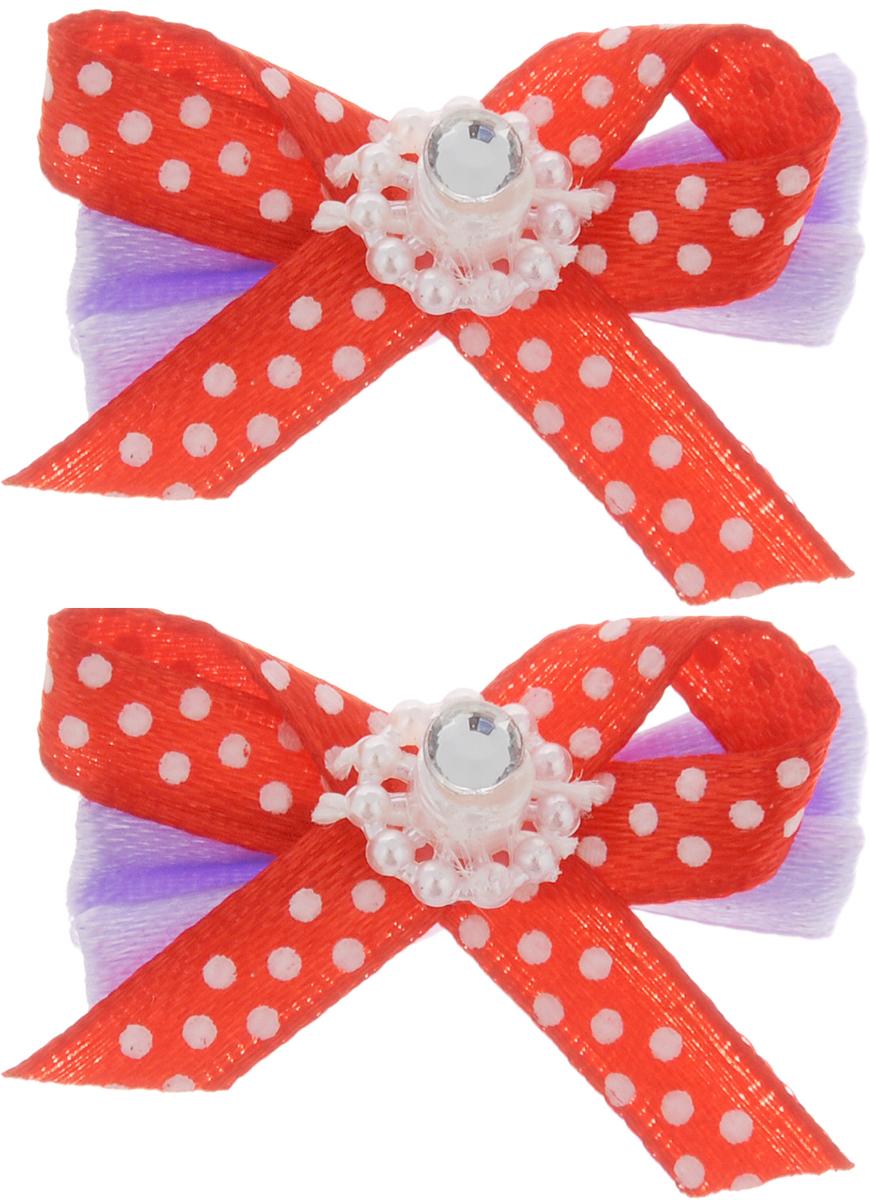 Резинка для животных Каскад Бант с украшением, цвет: сиреневый, красный, 4 х 2,5 см, 2 шт игрушка для животных каскад мячик пробковый цвет зеленый 3 5 см