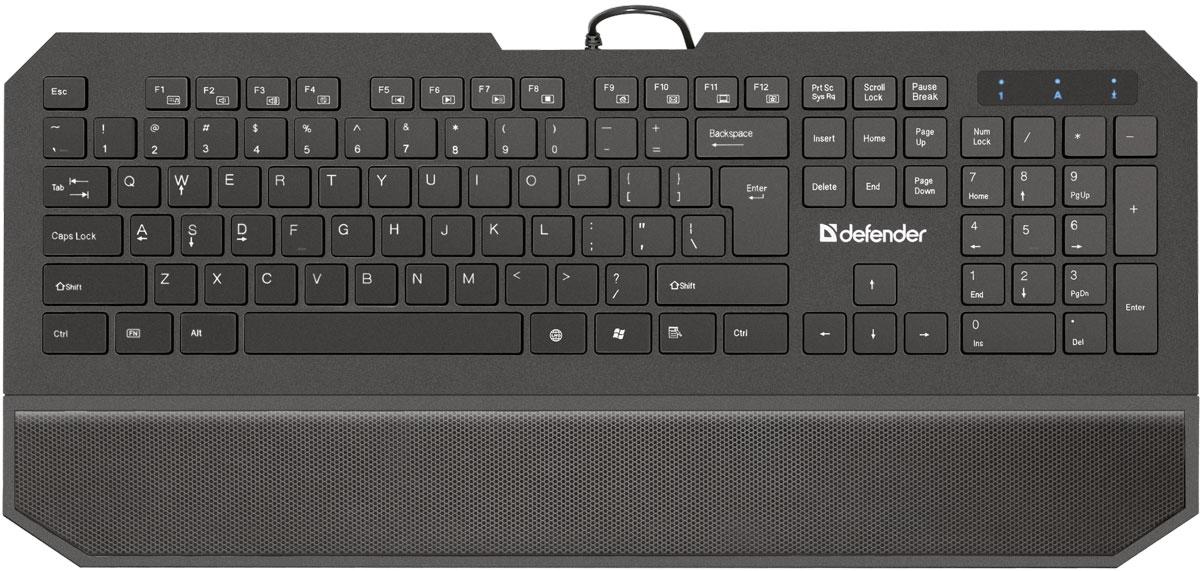 Defender Oscar SM-600 Pro RU, Black проводная клавиатура45602Клавиатура Defender Oscar SM-600 Pro RU имеет набор специальных игровых функций: блокировка системных клавиш Windows и переключение стрелок курсора на кнопки WASD. Для блокировки системных клавиш: нажмите и удерживайте клавишу Fn, затем нажмите клавишу Windows - системные клавиши заблокируются. Чтобы разблокировать клавиши, повторите действие. Для переключения клавиш W, A, S, D в игровой режим просто нажмите и удерживайте_ Fn, одновременно нажмите_W. Клавиши W, A, S, D перейдут в режим стрелок.Отличительная особенность устройства - увеличенная площадь клавиш-модификаторов (Ctrl, Shift), клавиш Enter и BackSpace. Клавиша LNG предназначена для удобства для смены языка одним нажатием. Разделенные клавиши высотой всего 2 мм и встроенная подставка под запястья позволят вам долгое время работать, не ощущая усталости. 12 дополнительных функций активируются клавишей FN.