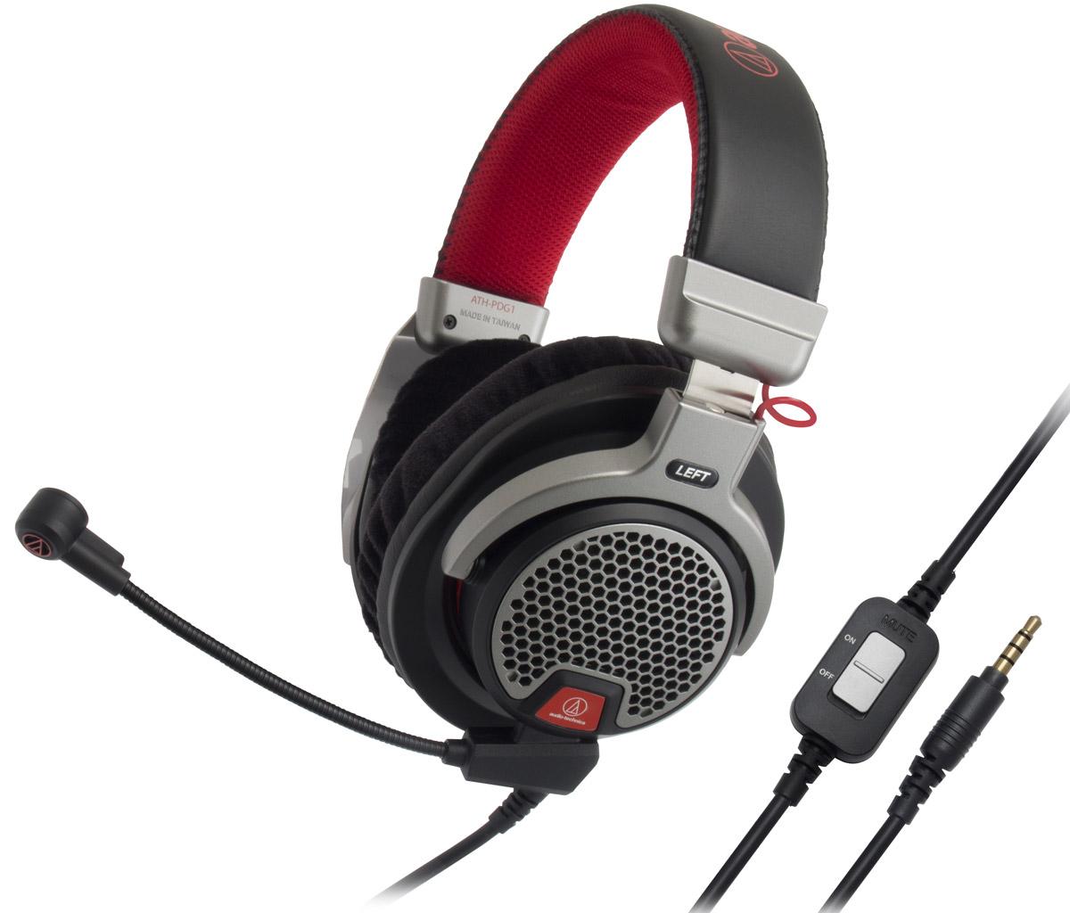 Audio-Technica ATH-PDG1 игровые наушники15118121Audio-Technica ATH-PDG1 – домашняя гарнитура премиум-класса открытого типа, предназначенная для компьютерных игр, телефонии и прослушивания музыки. Данная модель разработана специально для матёрых геймеров, которые ценят натуралистичный звук и естественные ощущения. Большие 40-мм динамики со звуковыми катушками CCAW специально настроены на воспроизведение всех живых деталей звука, которые могут предложить сегодняшние игры.Лёгкий, ячеистый алюминиевый корпус наушников даёт естественный, объёмный звук и сохраняет комфорт даже при самом интенсивном ведении огня в играх благодаря мягким кожаным амбушюрам. Модель имеет съёмный кабель, в комплекте идут три шнура, в том числе два с микрофонами: для смартфонов и для игр. Игровой микрофон обеспечивает кристально чистую голосовую связь с другими геймерами в игре, а пульт управления позволяет регулировать громкость.Невероятно живой звукОткрытое акустическое оформлениеЛёгкая конструкция, удобное оголовье и мягкие кожаные амбушюры обеспечивают комфортное ношение