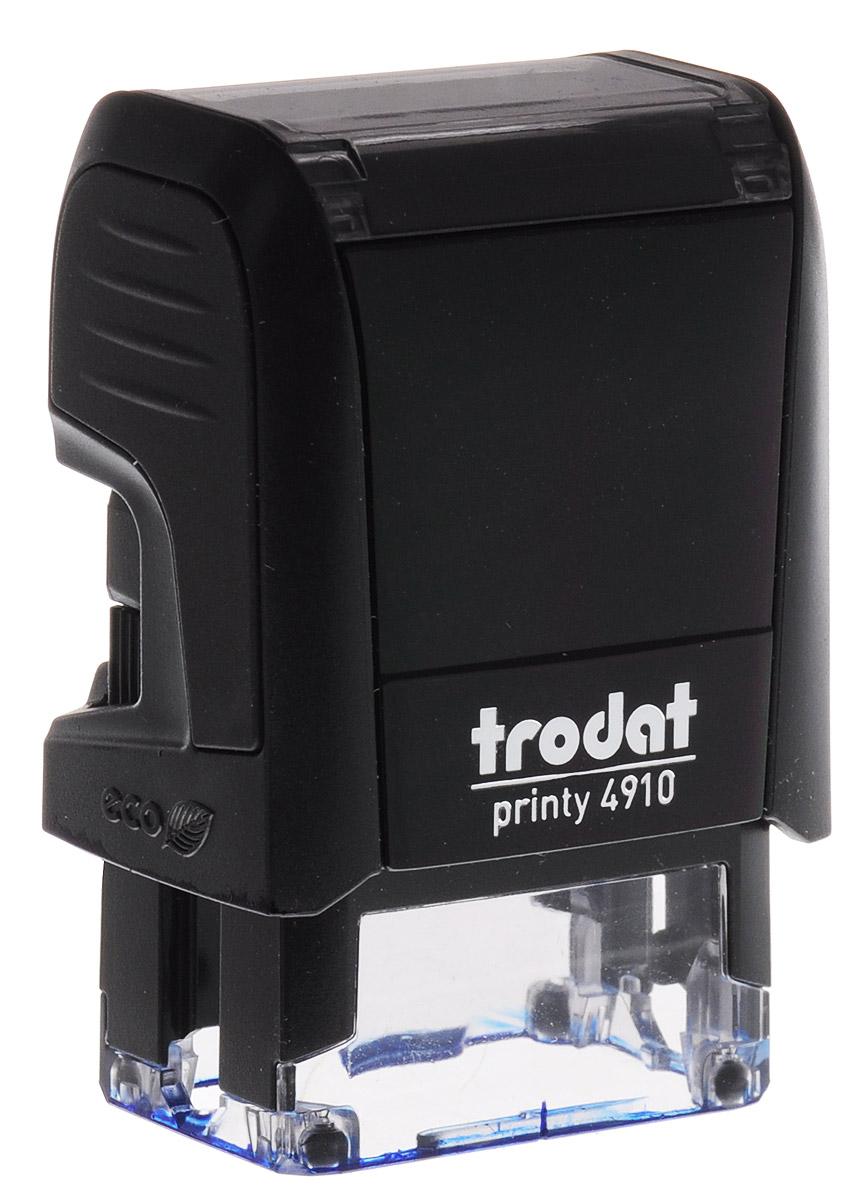 Trodat Оснастка для штампа 26 х 9 мм4910 P4Оснастка для штампа Trodat будет незаменима в отделе кадров или в бухгалтерии любой компании. Прочный пластиковый корпус с автоматическим окрашиванием гарантирует долговечное бесперебойное использование. Модель отличается высочайшим удобством в использовании и оптимально ложится в руку. Оттиск проставляется практически бесшумно, легким нажатием руки. Улучшенная конструкция и видимая площадь печати гарантируют качество и точность оттиска. Текстовые пластины прямоугольной формы 26 х 9 мм подойдут для изготовления клише по индивидуальному заказу. Модель оснащена кнопкой блокировки.Оснастка для штампа Trodat идеальна для ежедневного использования в офисе.