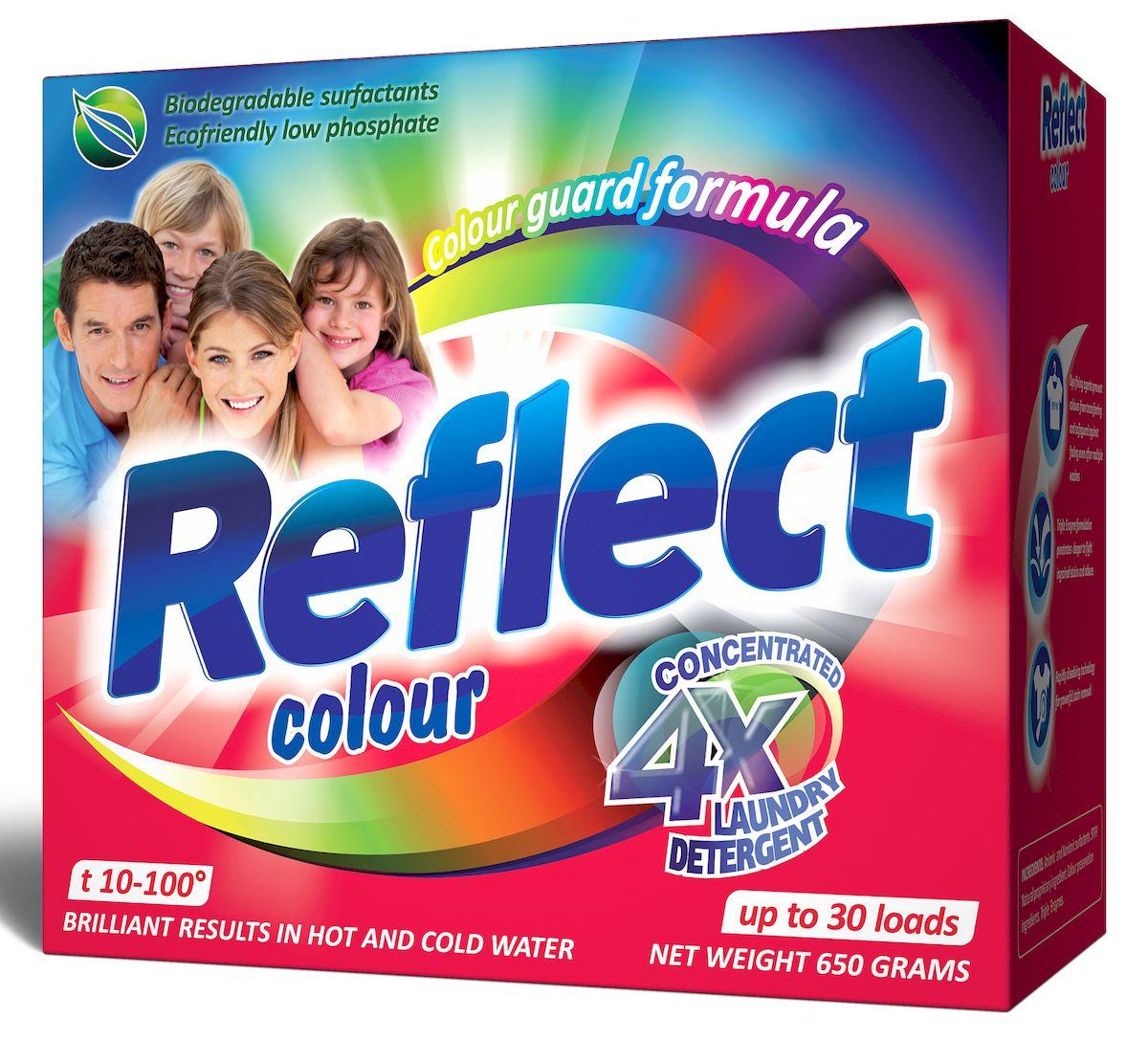 Стиральный порошок Reflect Colour, концентрированный, для цветных и темных тканей, 650 г15030Концентрированный стиральный порошок Reflect Color предназначен для стирки цветных и темных тканей. Двойная степень защиты цвета сохраняет все краски цветного и темного белья, защищает от ультрафиолета. Особенности порошка Reflect Color: - обладает высокой моющей способностью в широком диапазоне температур (10°C-100°C), - предупреждает образование накипи на водонагревательном элементе, - удаляет пятна и загрязнения различного происхождения, не повреждая структуру ткани, - в состав входит энзим (антипиллинг), который предотвращает образование ворсистости на ткани, - подходит для всех типов ткани, кроме шерсти и шелка, - универсальный - для машинной и ручной стирки.Товар сертифицирован.