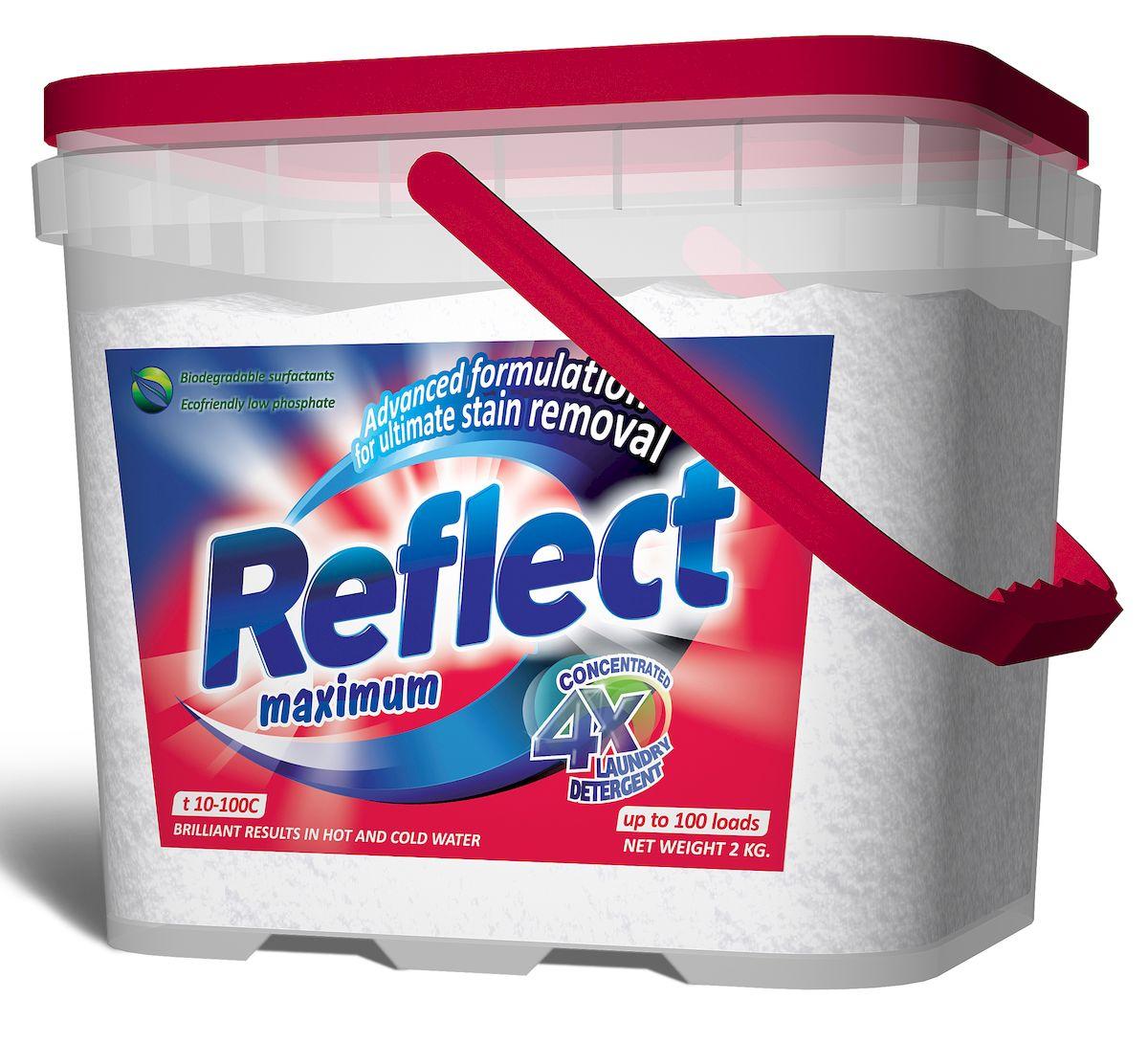 Стиральный порошок Reflect Maximum, для цветного и белого белья, 2 кг15050Стиральный порошок Reflect Maximum предназначен для стирки цветного и белого белья из хлопковых и смешанных волокон.Преимущества, способствующие высокому качеству стирки:- Композитные энзимы Trizyme глубоко проникают в ткань, удаляют грязь и неприятныезапахи (включая пятна и запах пота), предотвращают серость и желтизну.- Специальные добавки помогают сохранять и поддерживать структуру ткани,предупреждая появление и образование катышек.- Уникальная формула Colour Care (формула защиты цвета) защищает и поддерживаетнасыщенность цветовой гаммы изделия от стирки к стирке.- Optical Brightener (оптический отбеливатель) отвечает за белизну белого белья и яркостьцветного.Товар сертифицирован.