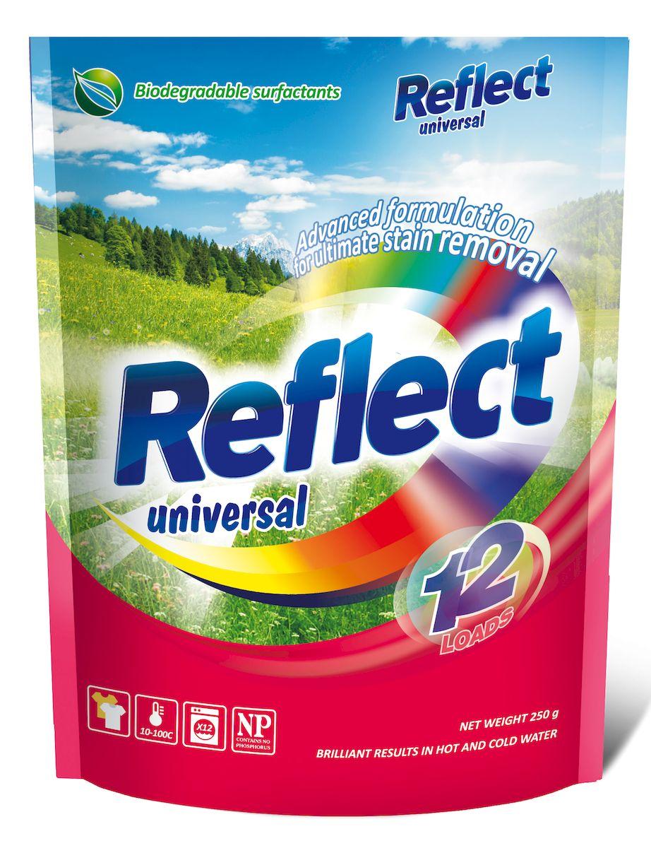 Стиральный порошок Reflect Universal, концентрированный, 250 г15060Разработанная с учетом новейших научных исследований высокоэффективная формула, содержащая энзимы и прочие специальные ингредиенты, справится с любыми пятнами. Благодаря высокой концентрации чистящих веществ, даже небольшой упаковки хватит надолго! Концентрированный стиральный порошок Reflect Universal бережно воздействует на большинство видов тканей, включая натуральные, синтетические и мембранные. Он сохраняет и освежает цвета, быстро растворяется без остатка и предотвращает появление накипи в стиральной машине.