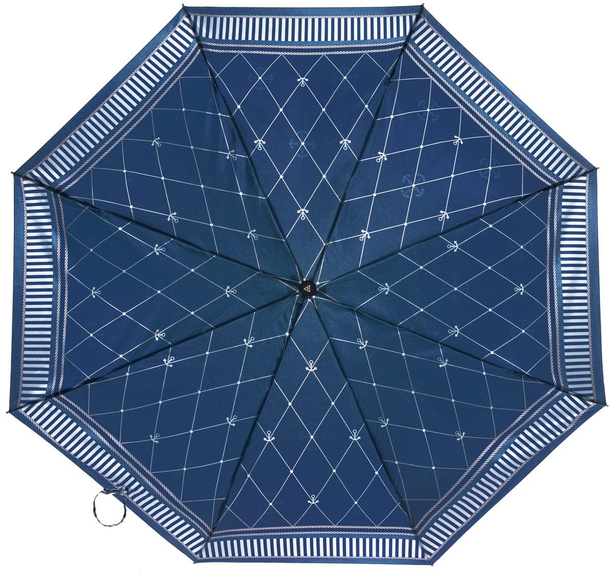 Зонт женский Fabretti, автомат, 3 сложения, цвет: синий. L-16104-22