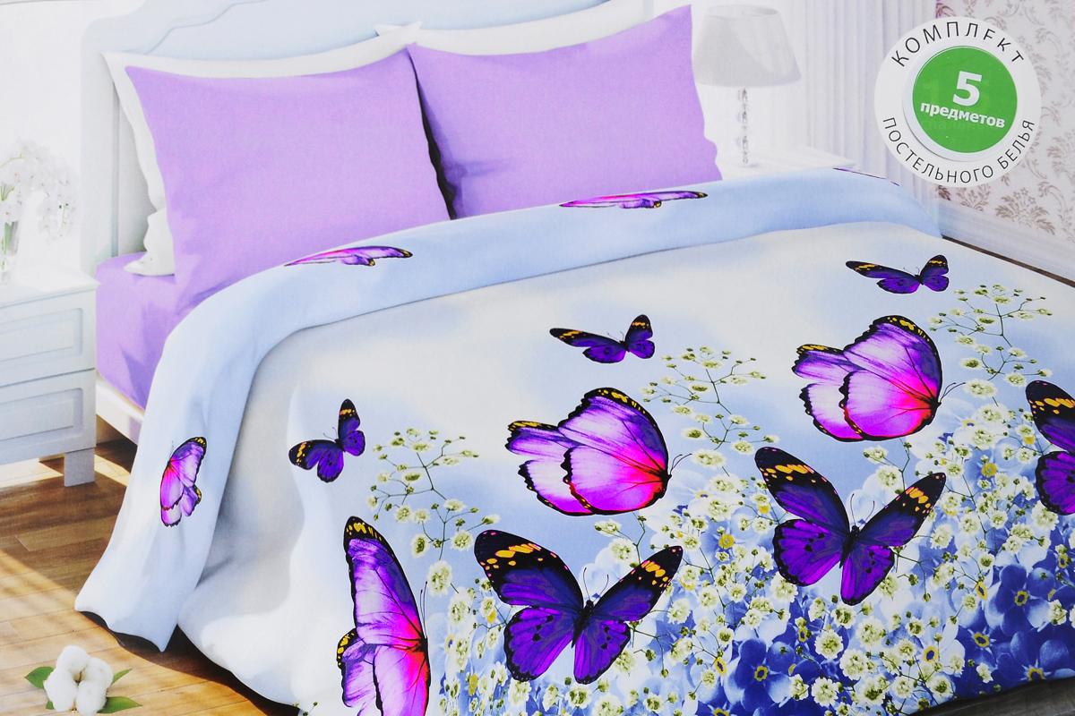 Комплект белья Любимый дом Изящный, семейный, наволочки 70х70, цвет: голубой, сиреневый333673Роскошный комплект постельного белья Любимый дом Изящный выполнен из ткани биокомфорт, произведенной из натурального 100% хлопка. Комплект состоит из двух пододеяльников, простыни и двух наволочек, оформленных цветочным принтом. Биокомфорт - это ткань полотняного переплетения, из экологически чистого и натурального 100% хлопка. Неоспоримым плюсом белья из такой ткани является мягкость и легкость, она прекрасно пропускает воздух, приятна на ощупь, не образует катышков на поверхности и за ней легко ухаживать. При соблюдениирекомендаций по уходу, это белье выдерживает много стирок, не линяет и не теряет свою первоначальную прочность. Уникальная ткань обеспечивает легкую глажку.Благодаря такому комплекту постельного белья вы создадите неповторимую и романтическую атмосферу в вашей спальне.