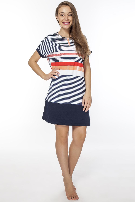 Платье домашнее Vis-A-Vis, цвет: синий, белый, красный. LDR2076. Размер XXXXL (56)LDR2076Оригинальное домашнее платье с круглым вырезом горловины и короткими рукавами, запринтовано в полоску райе.