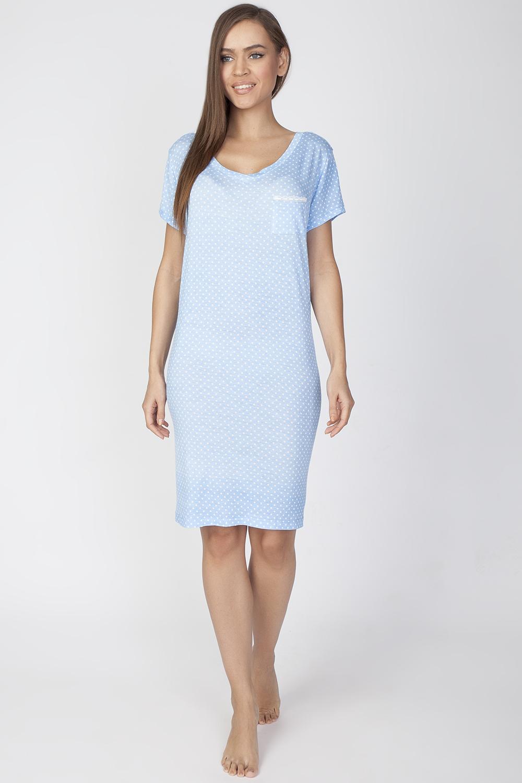 Платье домашнее Vis-A-Vis, цвет: голубой. LDR2084. Размер XL (50)LDR2084Комфортное домашнее платье из качественного материала. Платье с круглым вырезом горловины и короткими рукавами дополнено нагрудным кармашком.