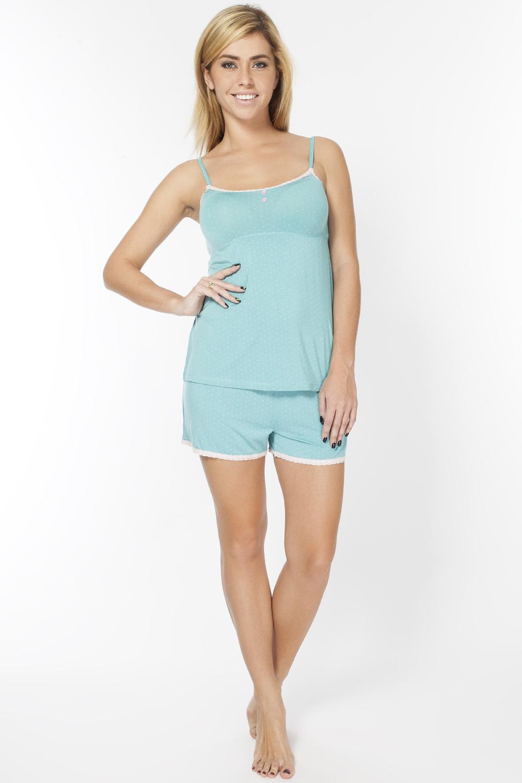 Пижама женская Vis-A-Vis, цвет: ментоловый. LP2063S. Размер M (46)LP2063SИнтересный комплект из шорт и майки. Майка на тоненьких бретелях.