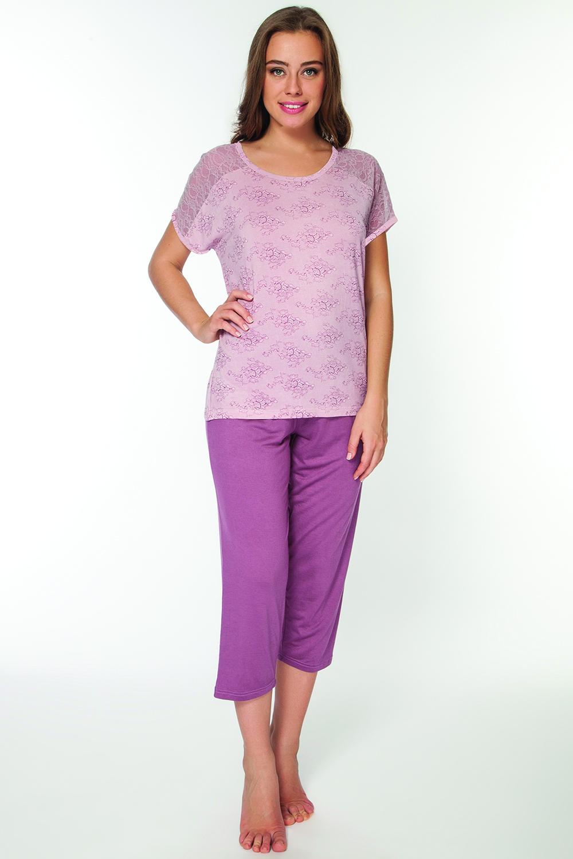 Пижама женская Vis-A-Vis, цвет: розовый. LP2064B. Размер XXL (52)LP2064BОригинальный комплект, состоящий из бридж и футболки с круглым вырезом горловины. Футболка запринтована под нежное кружево.