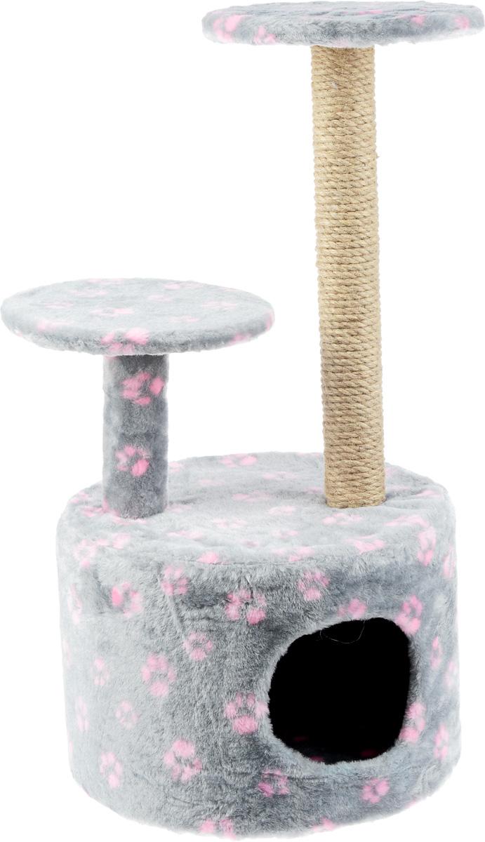 Игровой комплекс для кошек Меридиан Лапки, с когтеточкой и двумя полками, цвет: серый, розовый, 40 х 40 х 81 см цена