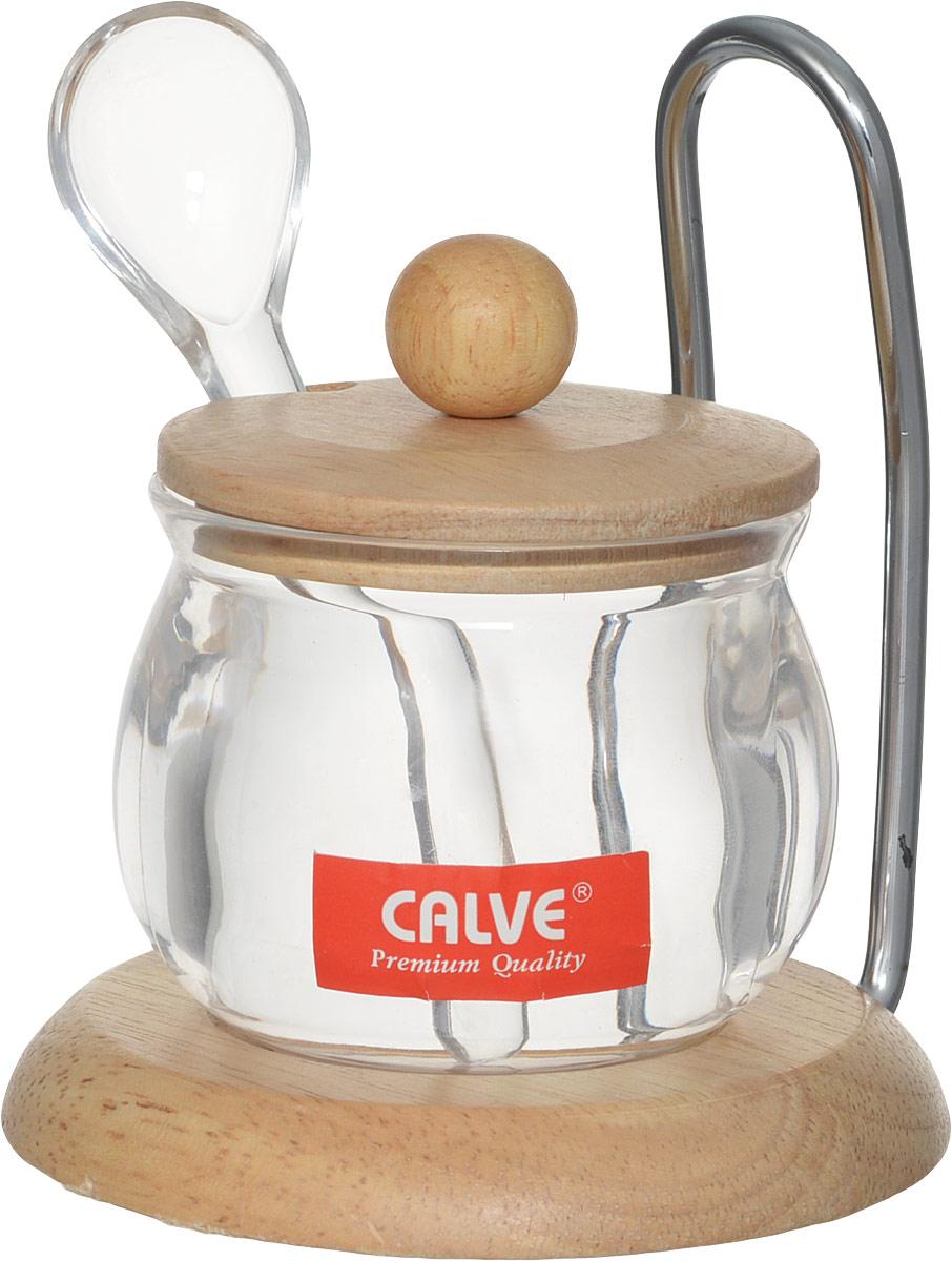 Сахарница Calve, с ложкой, на подставке, 150 млCL-4120Сахарница Calve, выполненная из пластика, дополнена деревянной крышкой и деревянной подставкой с металлической ручкой. К сахарнице прилагается пластиковая ложка.Элегантная сахарница подойдет как для повседневного домашнего использования, так и для сервировки праздничного стола. Ее изящная форма гармонично впишется в любой интерьер.Объем сахарницы 150 мл. Диаметр сахарницы (по верхнему краю): 6,5 см. Высота сахарницы (без учета крышки): 6,3 см. Длина ложки: 11 см. Размер рабочей части ложки: 3,5 х 3 см. Диаметр основания подставки: 10 см.Высота подставки (с учетом ручки): 11,5 см.