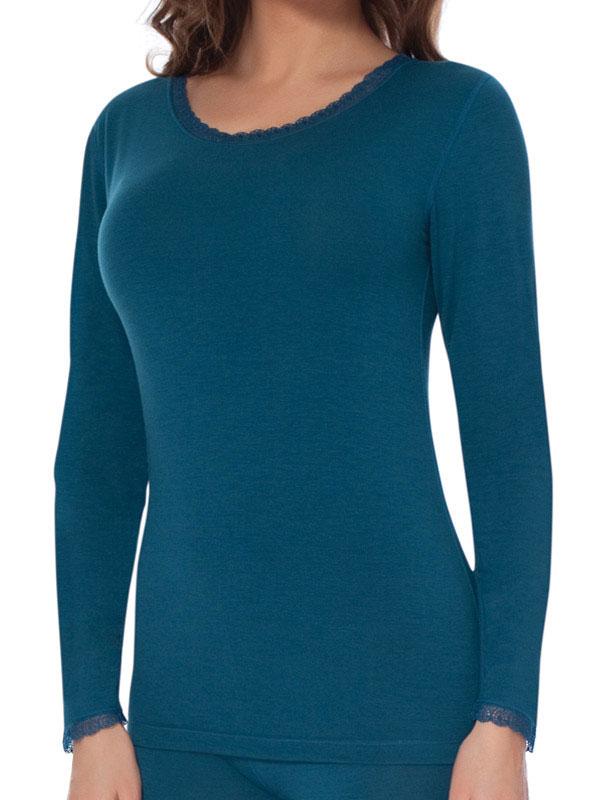 Термобелье футболка с длинным рукавом женская Vis-A-Vis, цвет: синий. TLF1030. Размер XL (50)TLF1030Футболка с длинным рукавом и круглым вырезом горловины с термоэффектом выполнена из высококачественного материала. Модель тончайшего плетения с ажурным эффектом идеально подходит для людей с чувствительной кожей. Футболка с длинным рукавом и круглым вырезом горловины.