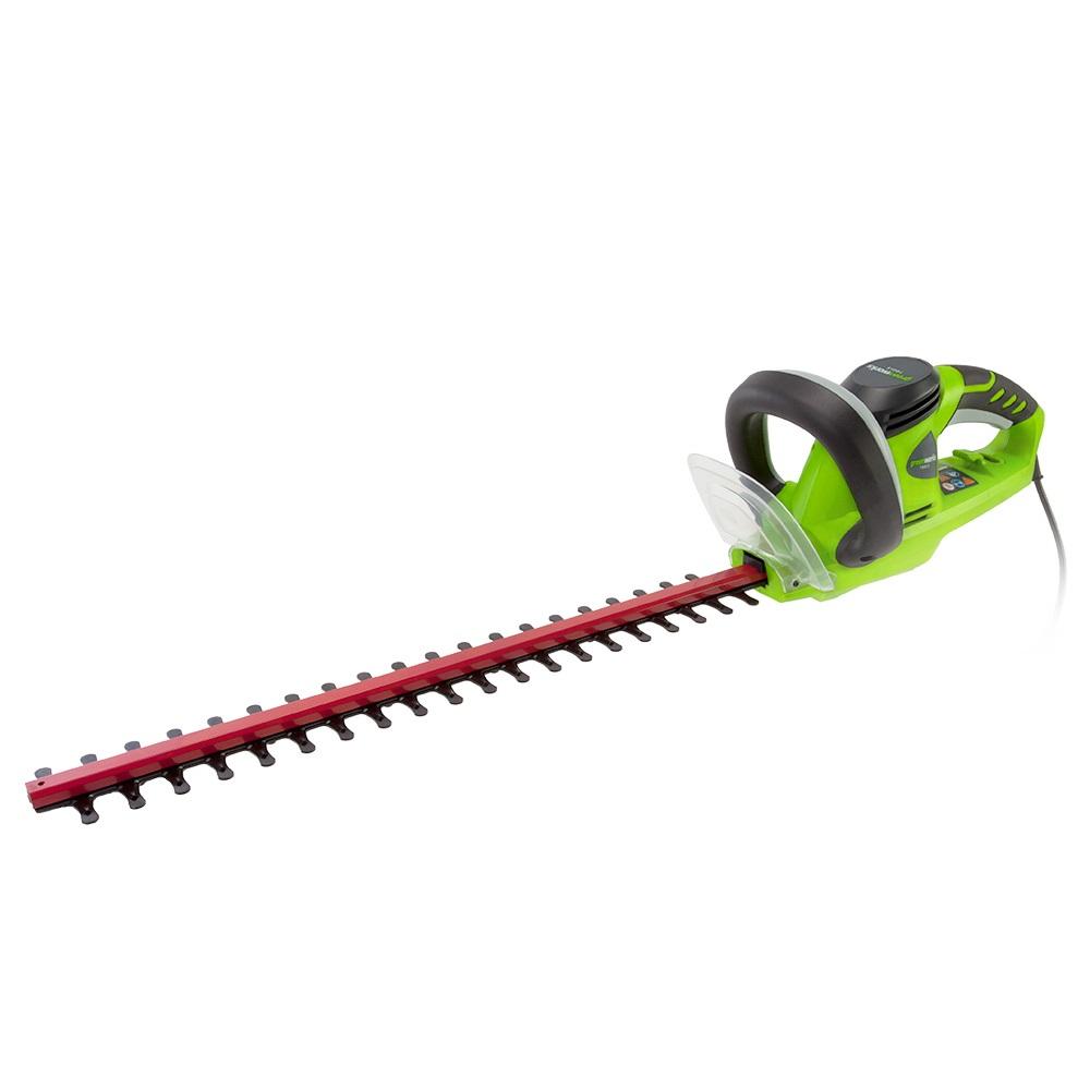 """Электрический проводной кусторез Greenworks """"GHT5054"""" -  это надежный инструмент для  ухода за живыми изгородями, садовыми деревьями и кустами.  Малый вес и удобная  прорезиненная ручка позволяют удобно и легко работать без  усталости. Для безопасной  работы устройство оснащено предохранителем от случайного  включения и щитком для  защиты рук.  Преимущества модели:  - Работа от сети 220 В.  - Не требует времени для подготовки к работе, включение  нажатием одной кнопки.  - Двусторонняя режущая часть (54 см).  - Прорезиненная ручка.  - Малый вес.  - Предохранитель от случайного включения и щиток для  защиты рук.  Технические характеристики:  Двигатель: щеточный.  Мощность двигателя: 500 Вт.  Длина полотна: 54 см.  Скорость, без нагрузки: 3200 об/мин.  Режущая способность: 1,8 см.  Вес: 3,12 кг.  Остановка лезвий: менее 1 секунды."""