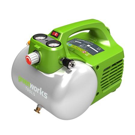 Компрессор электрический GreenWorks 6л4101302 Работа от сети 220В Мощность 300Вт Безмасляный Объем ресивера 6 лМакс. давление 6,8 бар Быстроразъемное соединение штуцеровГарантия 2 года