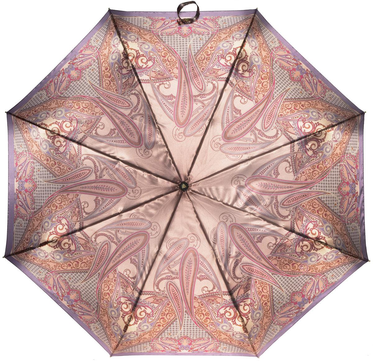 Зонт женский Fabretti, полный автомат, 3 сложения, цвет: бежевый, мультиколор. S-16102-5
