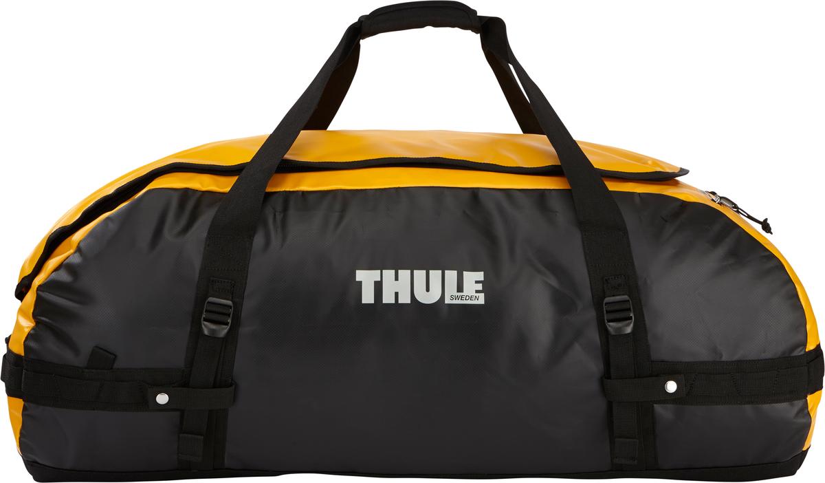 Туристическая сумка-баул Thule Chasm XL, цвет: оранжевый, черный, 130 л203600Thule Chasm X-Large - эта жесткая, устойчивая к неблагоприятным погодным условиям сумка с широко раскрывающимся основным отделением и съемными ремнями — ваш надежный спутник в любой поездке. Широко раскрывающееся отделение делает загрузку оборудования в сумку очень удобным. Боковые замки делают доступ к основному отделению удобным с любого угла Ремни складываются вдоль боковых сторон сумки. Ремни быстро превращают рюкзак в сумку. Прочная водонепроницаемая брезентовая ткань для удобной укладки вещей, которая легко складывается для хранения. Внутренние сетчатые карманы сохранят ваши вещи в порядке. Внешние фиксирующие ремни предотвращают содержимое сумки от падения на дно, когда она используется как рюкзак. Уплотненная нижняя часть сумки обеспечивает мягкое соприкосновение с землей. Блокировка застежки-молнии для защиты от воров (замок продается отдельно). Внешний сетчатый карман для небольших предметов. Размер сумки: 86 x 47 x 42 см.