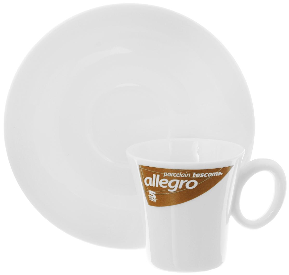 Кофейная пара Tescoma Allegro, цвет: белый, 2 предмета387520Кофейная пара Tescoma Allegro состоит из чашки и блюдца, изготовленных извысококачественного фарфора. Элегантный дизайн,несомненно, придется вам по вкусу.Кофейная пара Tescoma Allegro украсит ваш кухонный стол, а также станет замечательнымподарком к любому празднику.Можно использовать в микроволновой печи, холодильнике и посудомоечной машине. Объем чашки: 80 мл.Диаметр чашки (по верхнему краю): 6 см.Диаметр основания чашки: 4 см.Высота чашки: 6 см.Диаметр блюдца: 13 см.