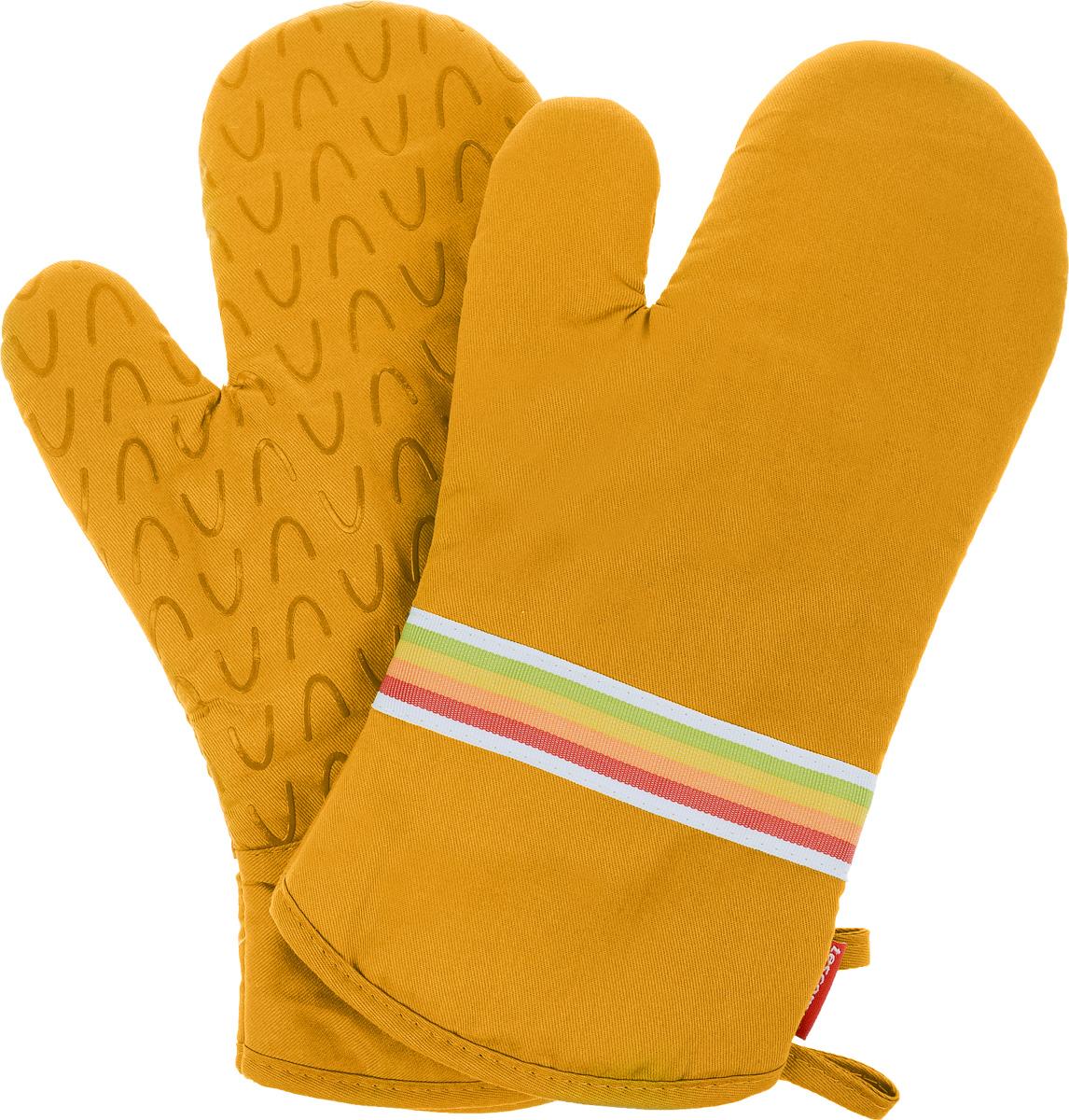 Рукавица-прихватка Tescoma Presto Tone, цвет: желтый, 33 х 18 см, 2 шт639751_желтыйРукавица-прихватка Tescoma Presto Tone, изготовленная из 100% хлопка и термостойкого силикона, имеет яркий дизайн. Для простоты и удобства хранения, изделие оснащено петелькой для подвешивания и магнитом. Такая прихватка защитит ваши руки от высоких температур и предотвратит появление ожогов. Рекомендуется стирка при температуре 30°С. Размер изделия (ДхШ): 33 х 18 см.Комплектация: 2 шт.