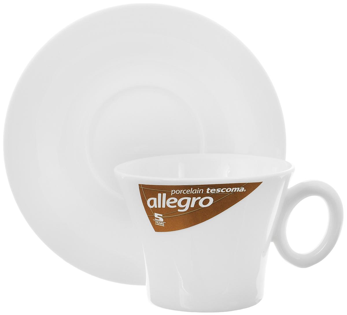 Кофейная пара Tescoma Allegro, цвет: белый, 2 предмета387522Кофейная пара Tescoma Allegro состоит из чашки и блюдца, изготовленных извысококачественного фарфора. Элегантный дизайн,несомненно, придется вам по вкусу.Кофейная пара Tescoma Allegro украсит ваш кухонный стол, а также станет замечательнымподарком к любому празднику.Можно использовать в микроволновой печи, холодильнике и посудомоечной машине. Объем чашки: 200 мл.Диаметр чашки (по верхнему краю): 9 см.Диаметр основания чашки: 5,5 см.Высота чашки: 7 см.Диаметр блюдца: 15 см.