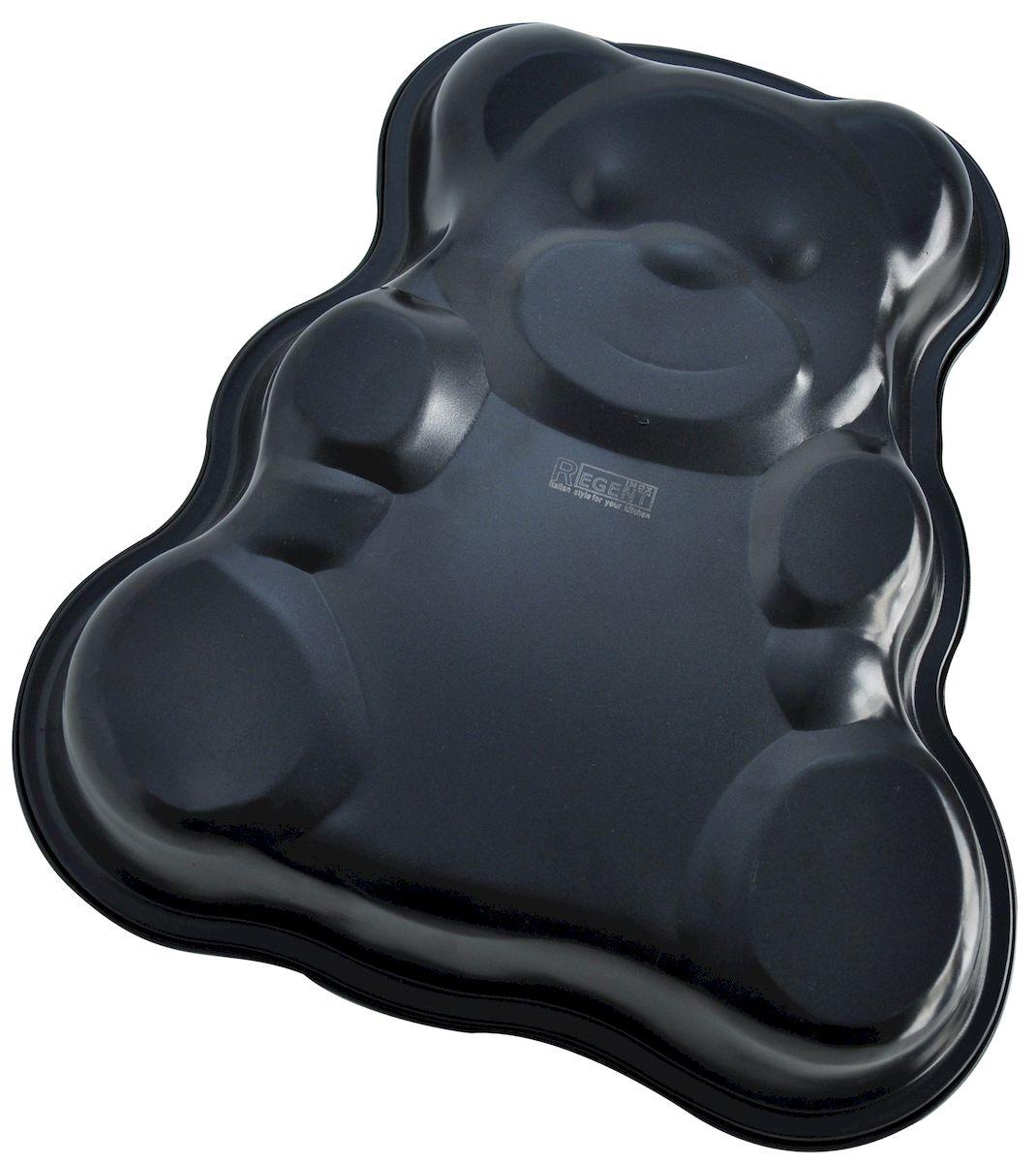 Форма для выпечки Regent Inox Медвежонок, с антипригарным покрытием, 34 х 32 х 4,8 см93-CS-EA-4-10Форма для выпечки Regent Inox Медвежонок подходит для приготовления пирога для ребенка или для того, чтобы поднять настроение вашим гостям. Высококачественная углеродистая сталь, из которой сделана форма, приятна на ощупь и равномерно нагревается. Форма очень удобна в эксплуатации и станет помощником для выпечки вкусных изделий. Антипригарное покрытие позволяет приготовить пищу с минимальным использованием масла. Форма проста в уходе: её можно мыть в посудомоечной машине или вручную с неабразивными средствами.