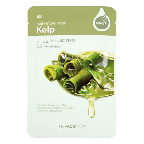 The Face Shop Real Nature Тканевая маска с экстактом ламинарии, 20 гУТ000001875Тканевая маска Sheet Kelp для лица содержит 1000 мг чистого экстракта ламинарии. Это кладезь ценных элементов и соединений, которые легко усваиваются кожей из-за биодоступной формы продукта. Благодаря полезным свойствам этой морской водоросли маска-салфетка защищает вашу кожу от загрязнений окружающей среды, хорошо вытягивает токсины, улучшает цвет лица. Ламинария оказывает: укрепляющий и подтягивающий эффект; нормализует метаболизм (обмен веществ) в коже; придает коже упругость; увлажняет и минерализует ее; оказывает противовоспалительное действие; омолаживает кожные покровы.