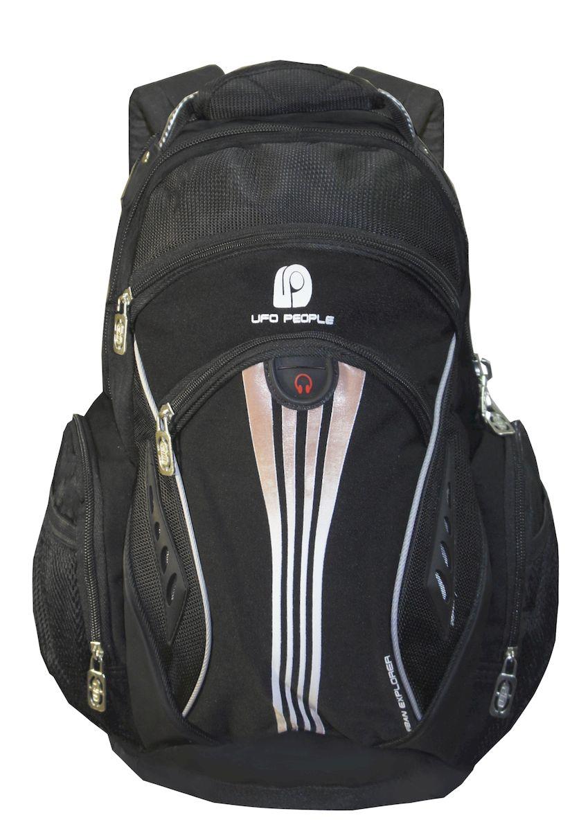 Рюкзак городской UFO people, цвет: черный. 22 л. 11-9611-96Рюкзак городской UFO people выполнен из высококачественного нейлона и оформлен фирменной нашивкой. Изделиеимеет нагрудные фиксаторы, светоотражающие элементы и уплотненное дно. Рюкзак оснащен ручкой для подвешивания и удобными лямками, длина которых регулируется с помощью пряжек. Внутри расположено вместительное отделение.