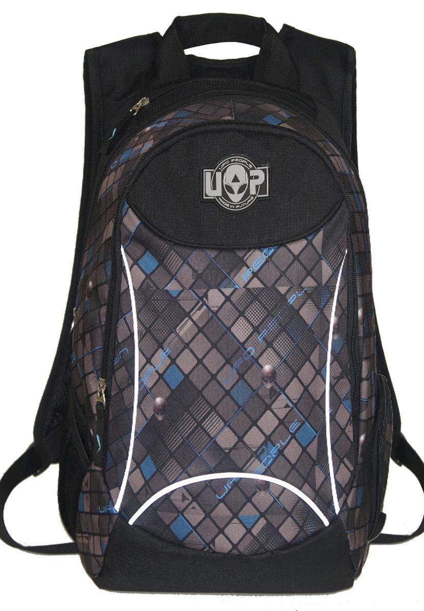 Рюкзак молодежный UFO people, цвет: черно-серый. 22 л. 1283012830Рюкзак городской UFO people выполнен из высококачественного нейлона и оформлен фирменной нашивкой. Изделиеимеет мягкие эргономичные вставки на спинке, фронтальные светоотражающие элементы и уплотненное дно. Рюкзак оснащен ручкой для подвешивания и удобными лямками, длина которых регулируется с помощью пряжек. Внутри расположено три вместительных отделения.