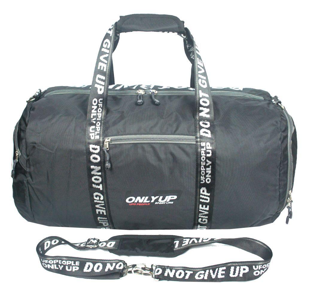 Сумка спортивная UFO people, цвет: черный, 46 л. 59095909Небольшая спортивная сумка из 100% нейлона. Основное вместительное отделение, 3 дополнительных кармана. Наплечный ремень в комплекте.