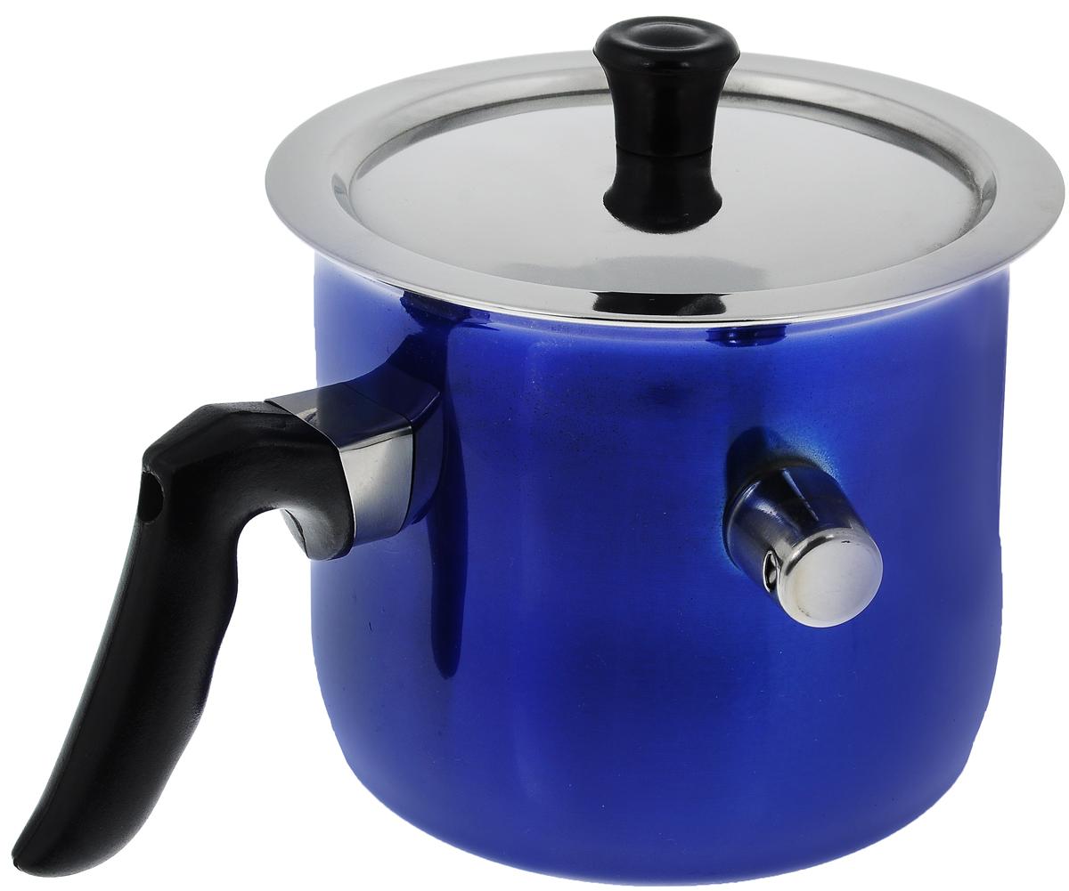 Молоковарка Bekker Premium с крышкой, цвет: синий, 1,5 л25706Молоковарка Bekker Premium изготовлена из высококачественной нержавеющей стали. Внешние стенки имеют цветное эмалевое покрытие. Молоковарка имеет двойные стенки, между которыми заливается вода. Это исключает подгорание любого продукта. Например, кашу можно готовить без помешивания, так как она никогда не пригорит и не выползет, а молоко не убежит. В такой посуде можно готовить без помешивания любые соусы, кремы, заваривать травяные настои, топить шоколад, мед, масло.Съемный свисток громко известит о закипании жидкости внутри молоковарки. Изделие оснащено бакелитовой ручкой эргономичной формы и металлической крышкой.Можно использовать на всех типах плит, кроме индукционных. Можно мыть в посудомоечной машине. Диаметр (по верхнему краю): 15 см.Высота стенки: 13 см.