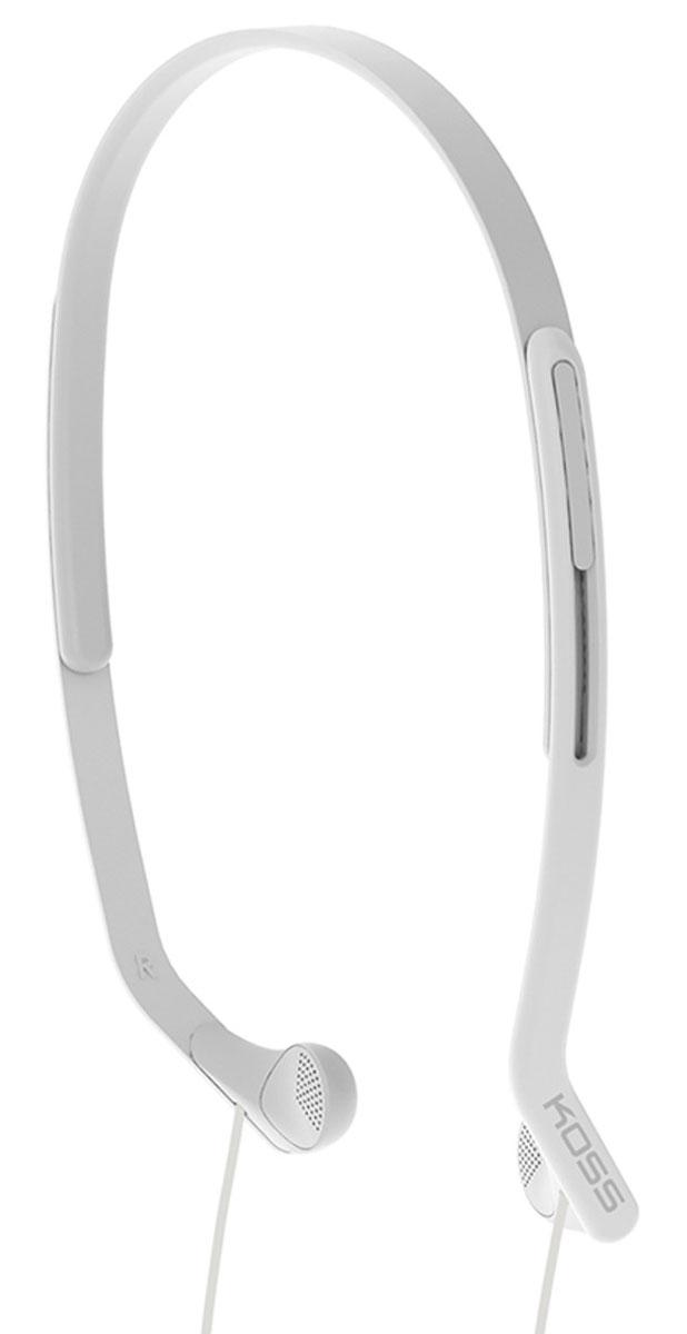 Koss KPH14, White наушники15118068Koss KPH14 - это вертикальные наушники для занятий спортом с комфортным регулируемым оголовьем. Отличаются особо лёгкой конструкцией и устойчивостью к влаге. Наушники пропускают внешние звуки, что позволяет контролировать ситуацию в тренажерном зале, на улице, в транспорте и чувствовать себя совершенно безопасно.
