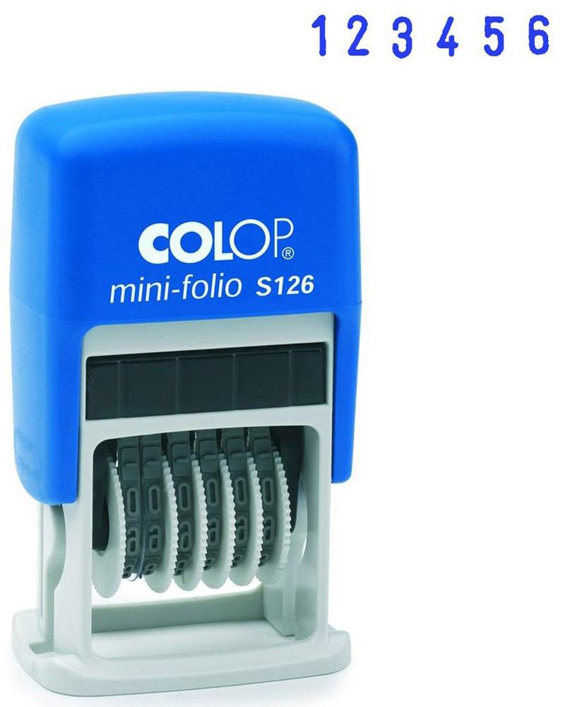 Colop Мини-нумератор шестиразрядный S126S126Мини-нумератор шестиразрядный Colop S126 имеет пластиковый корпус с автоматическим окрашиванием.Установка номера происходит с помощью колесиков. Используется для нумерации документов, проставления артикулов, цен и другого.Высота цифр - 3,8 мм, имеет 6 разрядов.