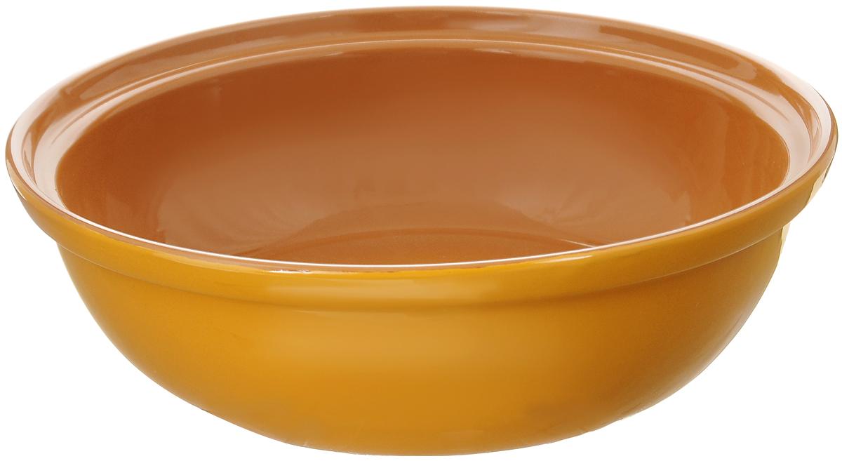 Салатник Борисовская керамика Модерн, цвет: желтый, светло-коричневый, 2,5 лРАД00001012_желтыйСалатник Борисовская керамика Модерн выполнен из высококачественной глазурованной керамики. Этот большой и вместительный салатник придется по вкусу любителям здоровой и полезной пищи. Благодаря современной удобной форме, изделие многофункционально и может использоваться хозяйками на кухне как в виде салатника, так и для запекания продуктов, с последующим хранением в нем приготовленной пищи. Посуда термостойкая. Можно использовать в духовке и микроволновой печи.Диаметр (по верхнему краю): 28,5 см.Высота стенки: 8,5 см.