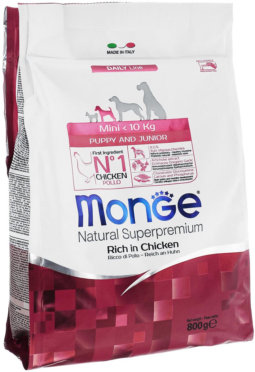 Корм сухой Monge для щенков мелких пород, с курицей, 800 г70004107Сухой корм Monge - это полноценный корм, предназначенный для щенков мелких пород (вес до 10 кг) в возрасте от 2 до 12 месяцев, а также для беременных и кормящих собак. Высокоэнергетический корм содержит оптимальное соотношение белков и углеводов, необходимое во время активного роста. Благодаря содержанию глюкозамина и хондроитина корм способствует развитию здоровых суставов и гармоничному развитию скелета. Состав сбалансирован по соотношению жирных кислот Омега-3 и Омега-6.Товар сертифицирован.