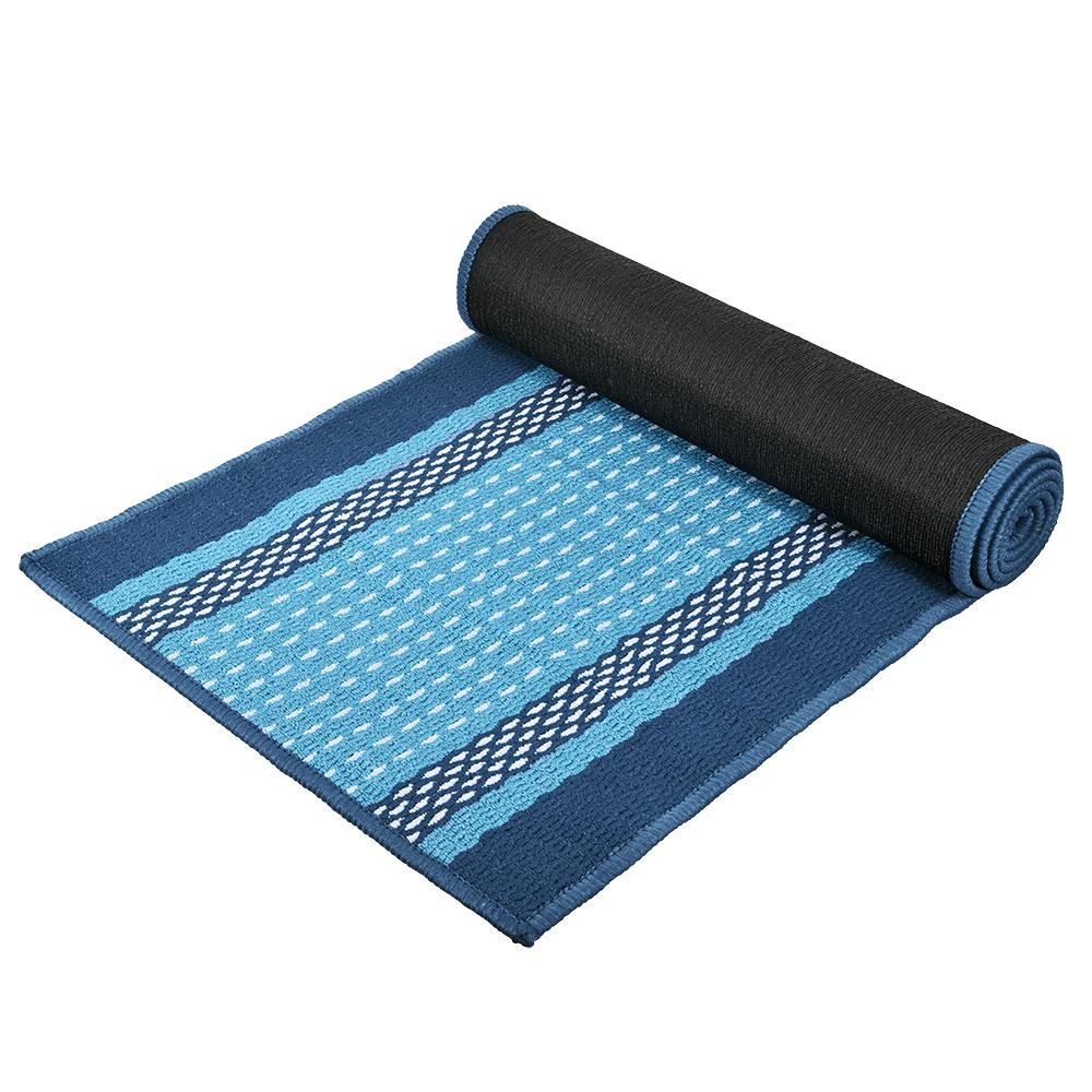 Коврик Vortex Madrid, цвет: синий, 50 х 190 см22451Ворс коврика Vortex изготовлен из 100% полипропилена. Он оформлен ярким рисунком. Коврик оснащен выполненной из латекса подложкой, которая препятствует скольжению. Коврик Vortex гармонично впишется в интерьер вашего дома и создаст атмосферу уюта и комфорта. Изделие отлично подойдет как для использования в доме, так и снаружи.