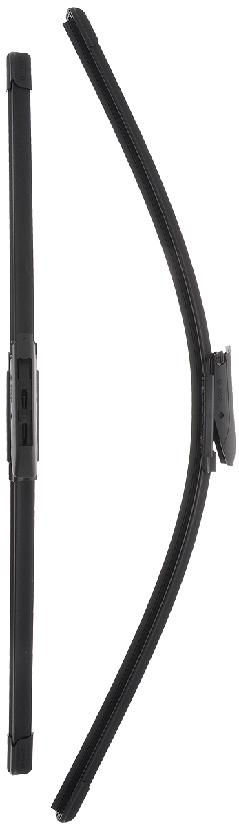 Щетка стеклоочистителя Bosch A117S, бескаркасная, со спойлером, длина 55/65 см, 2 шт3397007117Комплект Bosch A117S состоит из двух бескаркасных щеток разного размера. Щетки выполнены по современной технологии из высококачественных материалов и предназначены для установки на переднее стекло автомобиля. Отличаются высоким качеством исполнения и оптимально подходят для замены оригинальных щеток, установленных на конвейере. Обеспечивают качественную очистку стекла в любую погоду.AEROTWIN - серия бескаркасных щеток компании Bosch. Щетки имеют встроенный аэродинамический спойлер, что делает их эффективными на высоких скоростях, и изготавливаются из многокомпонентной резины с применением натурального каучука. Комплектация: 2 шт.