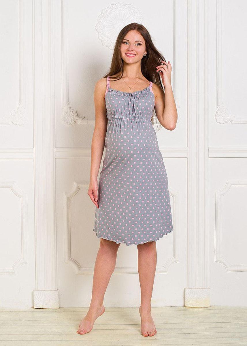 Сорочка ночная для беременных и кормящих Hunny Mammy, цвет: серый, розовый. 1-НМП 07502. Размер 50