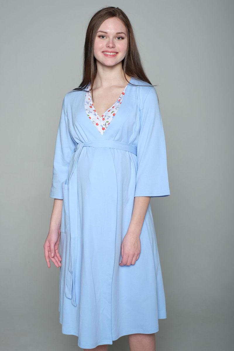 Комплект для беременных и кормящих Hunny Mammy: халат, сорочка ночная, цвет: голубой, белый. 2-НМК 07221. Размер 482-НМК 07221Удобный комплект из мягкого трикотажного полотна состоит из халата и ночной сорочки. Сорочка с вырезом на запах для удобства кормления. Халат с рукавом 3/4, с накладным карманом.
