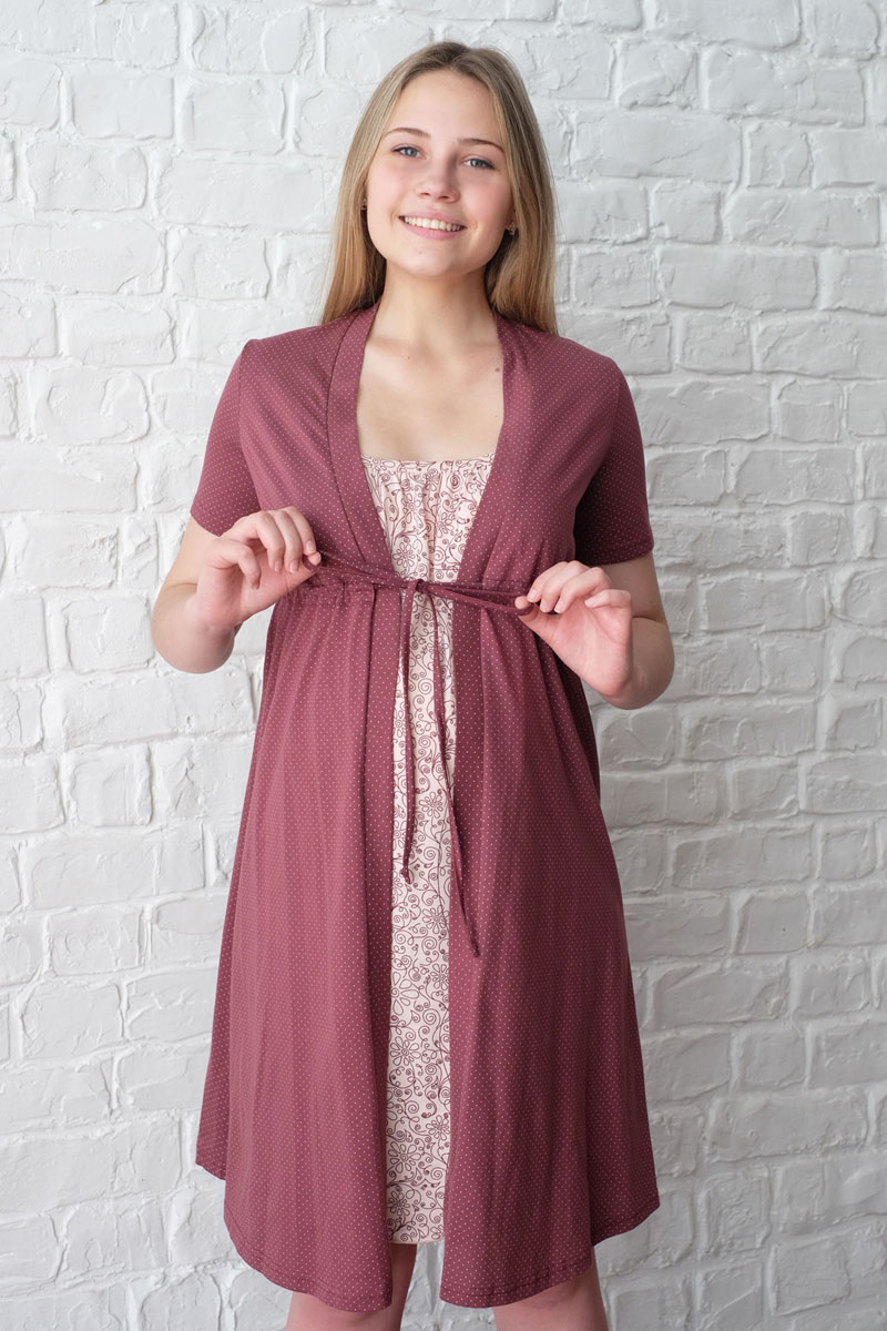 Комплект для беременных и кормящих Hunny Mammy: халат, сорочка ночная, цвет: коричневый, бежевый. 3-К 09220. Размер 423-К 09220Легкий комплект, состоящий из халата-пеньюара и сорочки на бретелях с клипсой для кормления, выполнен из натурального хлопка.