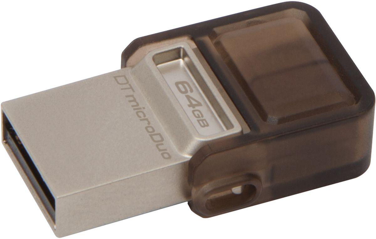 Kingston DataTraveler microDuo 64GB USB-накопительDTDUO/64GBНакопитель DataTraveler microDuo компании Kingston имеет компактный форм-фактор и предоставляет дополнительное пространство для хранения данных для планшетов и смартфонов, поддерживающих функцию USB OTG(On-The-Go). Стандарт USB OTG позволяет напрямую подключать мобильные устройства к поддерживаемым USB-устройствам.DataTraveler microDuo емкостью до 64 ГБ позволяет использовать разъемы microUSB, часто применяемые для зарядки устройств, в качестве портов расширения. DTDUO идеально подходит для хранения больших файлов во время путешествий, обеспечивая функцию автоматического конфигурирования в планшетах и смартфонах без разъемов microSD; при этом цена на гигабайт у накопителя ниже, чем у дополнительных встроенных накопителей для мобильных устройств.В смартфонах и планшетах с возможностью записи HD-видео и съемки качественных фотографий свободное пространство заканчивается очень быстро. DTDUO позволяет перемещать файлы, фотографии, видео и другие данные для выгрузки или резервного копирования, не подключая устройство к ПК. Передача больших файлов с одного мобильного устройства на другое удобнее, чем при помощи облачных сервисов, к тому же не требуется кабель для переноса данных между устройством и ПК.Накопитель компактен и легок, его можно брать с собой повсюду, а его изящная конструкция подойдет к любому мобильному устройству. Поворотный колпачок защищает разъем microUSB от повреждений.