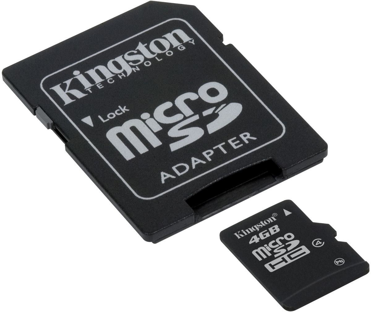 Kingston microSDHC Class 4 4GB карта памяти с адаптером microsdhc kingston 4gb class 4 sdc4 4gbsp