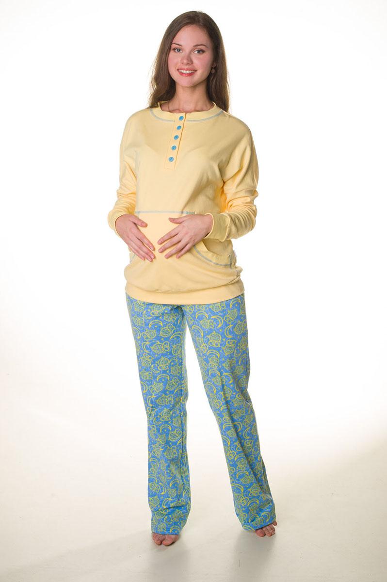 Комплект для беременных и кормящих Hunny Mammy: свитшот, брюки, цвет: желтый, голубой. О 05846. Размер 42О 05846Комплект, выполненный из эластичного трикотажного полотна, состоит из свитшота и брюк. Свитшот полуприлегающего силуэта с длинным рукавом на манжете дополнен карманом кенгуру. Круглая горловина обработана обтачкой. Застежка на планку и пуговицы. Свитшот украшен контрастными строчками. Брюки длинные, из контрастного полотна. В боковых швах – карманы, верхний срез на поясе с резинкой.