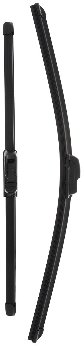 Щетка стеклоочистителя Bosch AR531S, бескаркасная, со спойлером, длина 45/53 см, 2 шт3397118901Комплект Bosch AR531S состоит из двух бескаркасных щеток разного размера. Щетки выполнены по современной технологии из высококачественных материалов и предназначены для установки на переднее стекло автомобиля. Отличаются высоким качеством исполнения и оптимально подходят для замены оригинальных щеток, установленных на конвейере. Обеспечивают качественную очистку стекла в любую погоду.AEROTWIN - серия бескаркасных щеток компании Bosch. Щетки имеют встроенный аэродинамический спойлер, что делает их эффективными на высоких скоростях, и изготавливаются из многокомпонентной резины с применением натурального каучука. Комплектация: 2 шт.