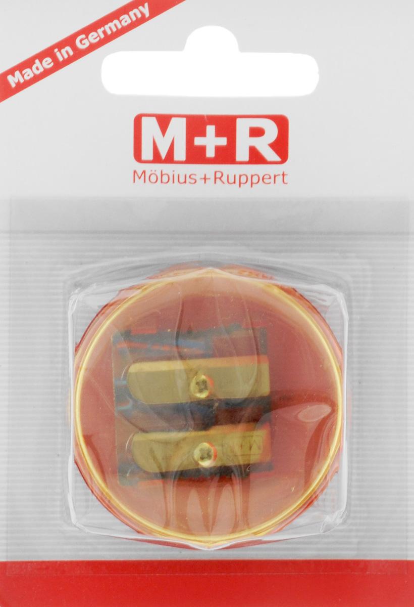 M+R Точилка Top Duo цвет желтый красный0344-0002_желтый, красныйТочилка M+R Top Duo выполнена из прочного пластика.В точилке имеются два отверстия для карандашей разного диаметра. Точилка подходит для различных видов карандашей. При повороте пластикового контейнера, отверстия закрываются.Полупрозрачный контейнер для сбора стружки позволяет визуально контролировать уровень заполнения и вовремя производить очистку.