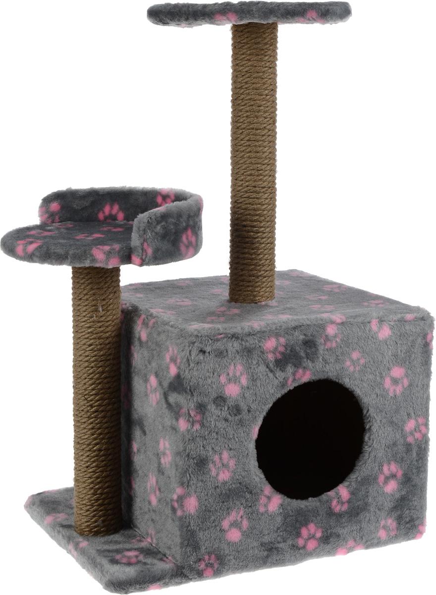 Игровой комплекс для кошек Меридиан, с домиком и когтеточкой, цвет: серый, розовый, бежевый, 35 х 45 х 75 смК511 ССИгровой комплекс для кошек Меридиан выполнен из высококачественного ДВП и ДСП и обтянут искусственным мехом. Изделие предназначено длякошек. Ваш домашний питомец будет с удовольствием точить когти о специальные столбики, изготовленные из джута. А отдохнуть он сможет либо на полках разной высоты, либо врасположенном внизу домике. Общий размер: 35 х 45 х 75 см. Размер домика: 46 х 37 х 33 см. Высота полок (от пола): 74 см, 45 см. Размер полок: 27 х 27 см, 26 х 26 см.
