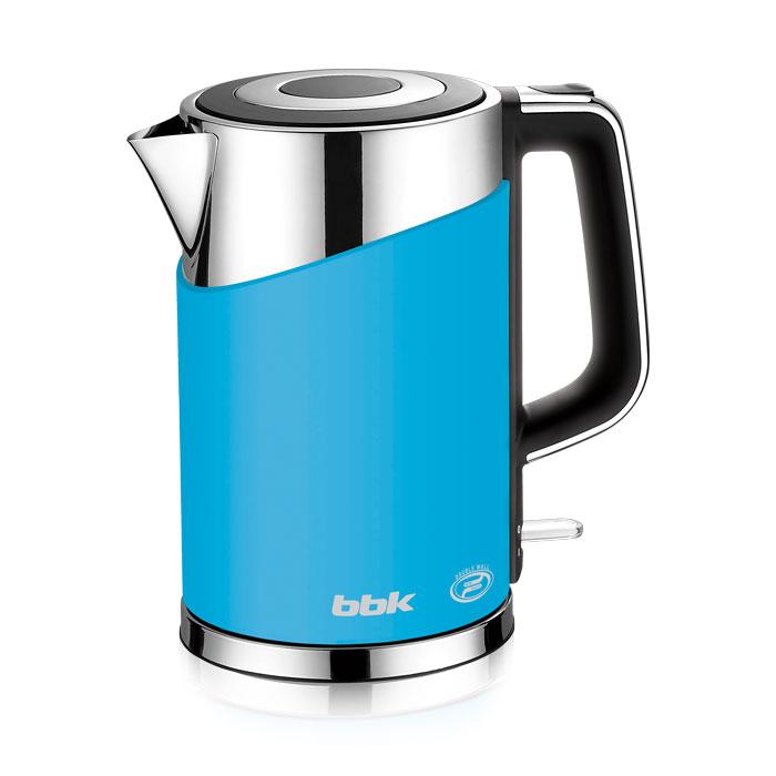 BBK EK1750P, Light Blue электрический чайникEK1750P голубойСовременный электрический чайник BBK EK1750P имеет мощность 2200 Вт и емкость 1,7 литра. Контроллер английской фирмы Otter обеспечивает бесперебойную и долговременную эксплуатацию устройства. Особенностью модели являются двойные стенки колбы, за счет чего обеспечивается бесшумное закипание, безопасное прикосновение и долговременное сохранение высокой температуры воды. Чайник установлен на удобной подставке с возможностью поворота на 360° и с отделением для хранения шнура. Скрытый нагревательный элемент, удобный носик для наливания и шкала уровня воды обеспечат комфортное ежедневное использование.
