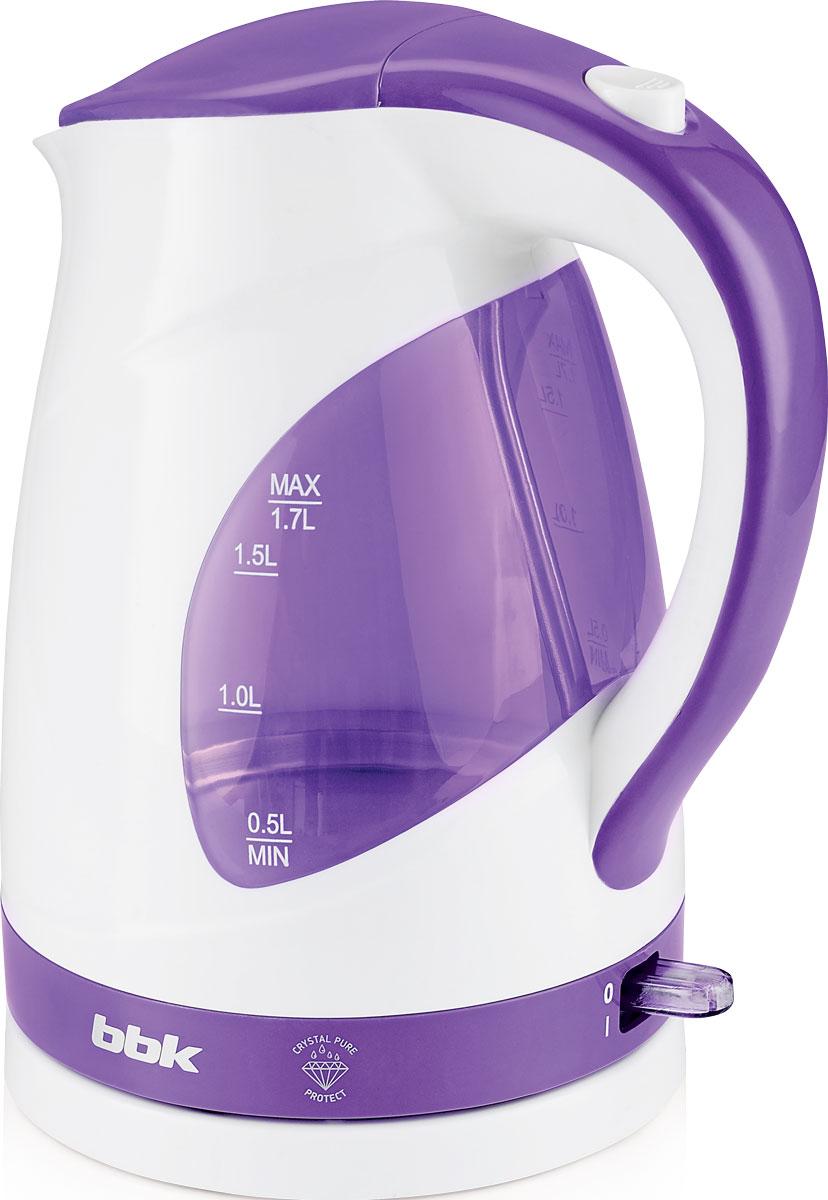 BBK EK1700P, White Purple электрический чайникEK1700P б/фСовременный электрический чайник BBK EK1700P из термостойкого экологически чистого пластика, сочетающий в себе многофункциональность и дизайн, станет украшением вашейкухни. Чайник оснащен технологией Crystal Pure Protect - это улучшенная защита от накипи и усовершенствованная очистка воды, а также многоуровневой защитой. Прибор установлен на удобную подставку с возможностью поворота на 360 градусов и с отделением для хранения шнура. Помимо этого отличительной особенностью является удобный носик для наливания и шкала уровня воды. Съемный фильтр от накипи и скрытый нагревательный элемент гарантированно обеспечат надежность, долговечность и максимально комфортное ежедневное использование.