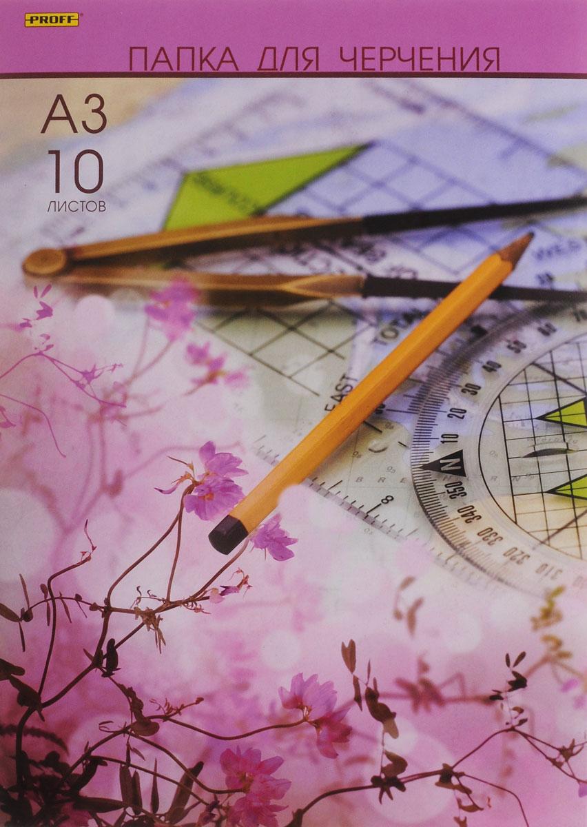 Proff Папка для черчения цвет розовый 10 листов формат А3ПЧA31007 003_розовыйУчащиеся технических учебных заведений по достоинству оценят высокое качество этой форматной бумаги для черчения.Бумага устойчива к истиранию, имеет верхний проклеенный слой. Может также использоваться для карандашных набросков или для рисования акварелью в технике по сухому.10 листов бумаги упакованы в картонную папку.